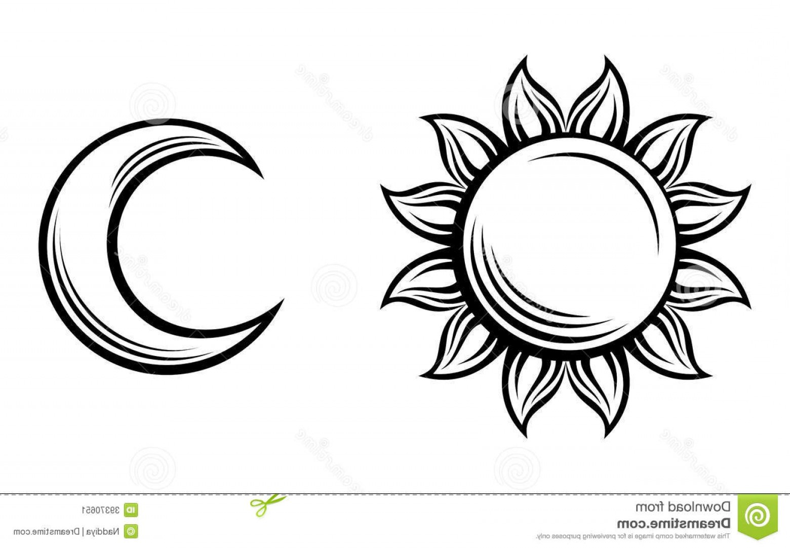 Simple Moon Vector Art: Stock Image Black Silhouettes Sun Moon Vector Isolated White Background Image