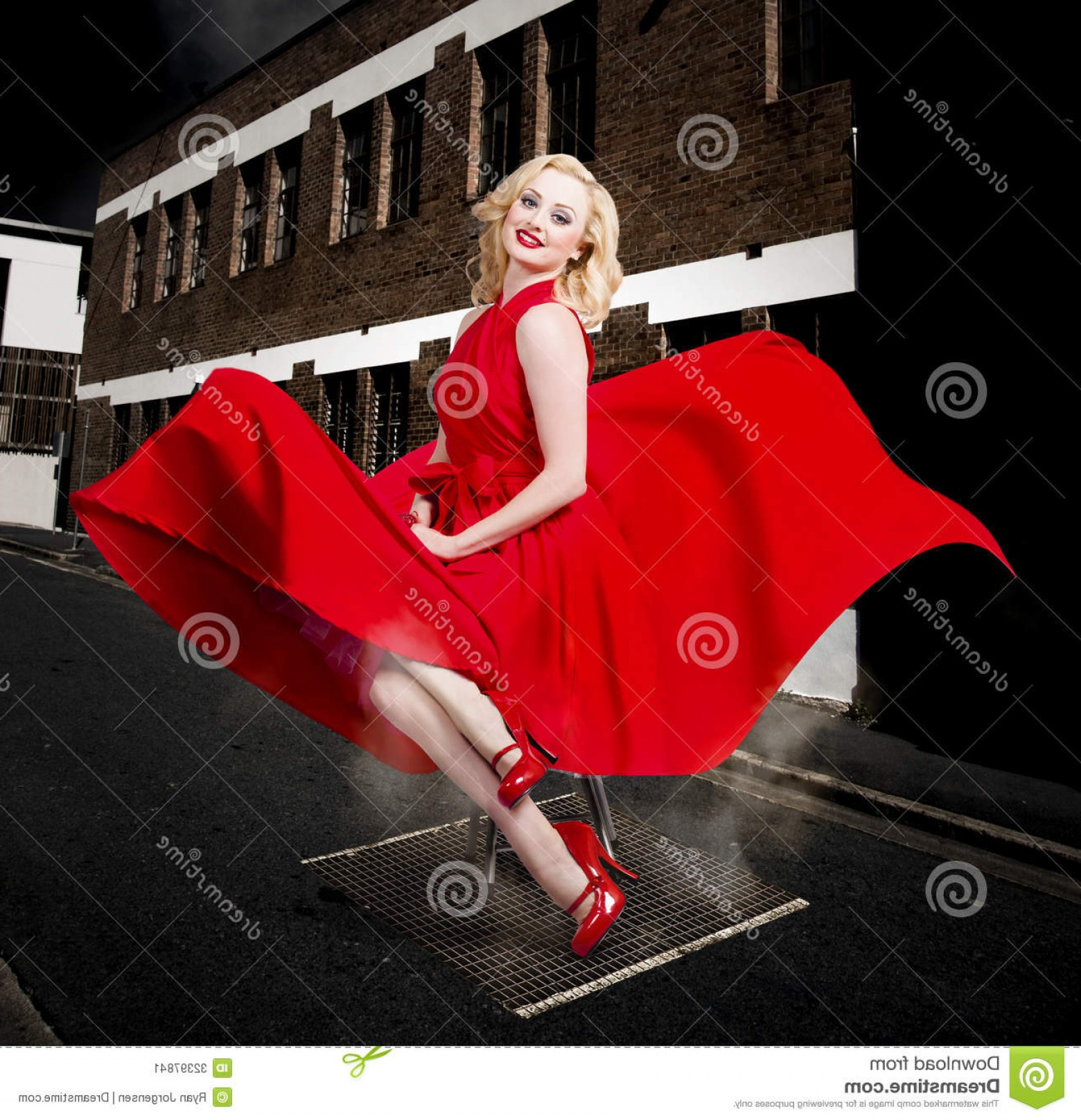 Marilyn Monroe Dress Vector: Stock Image Blond Marilyn Monroe Pinup Girl Retro Dress Doing Sexy Red Dance Underneath Open Street Vent Classical Fashion Styles Image