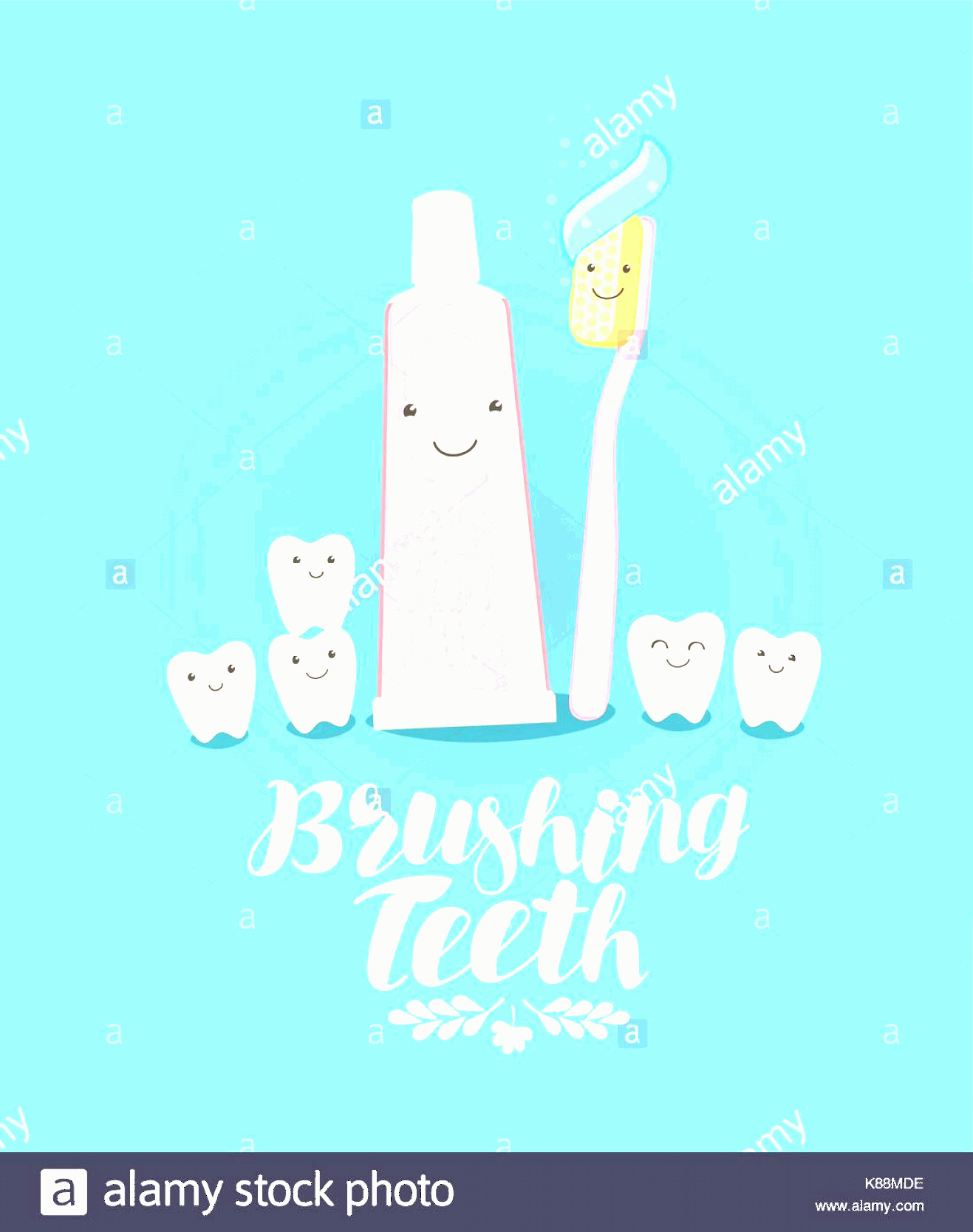 Toothpaste Cartoon Vector: Stock Image Brushing Teeth Banner Tooth Toothpaste Toothbrush Dentistry Dental