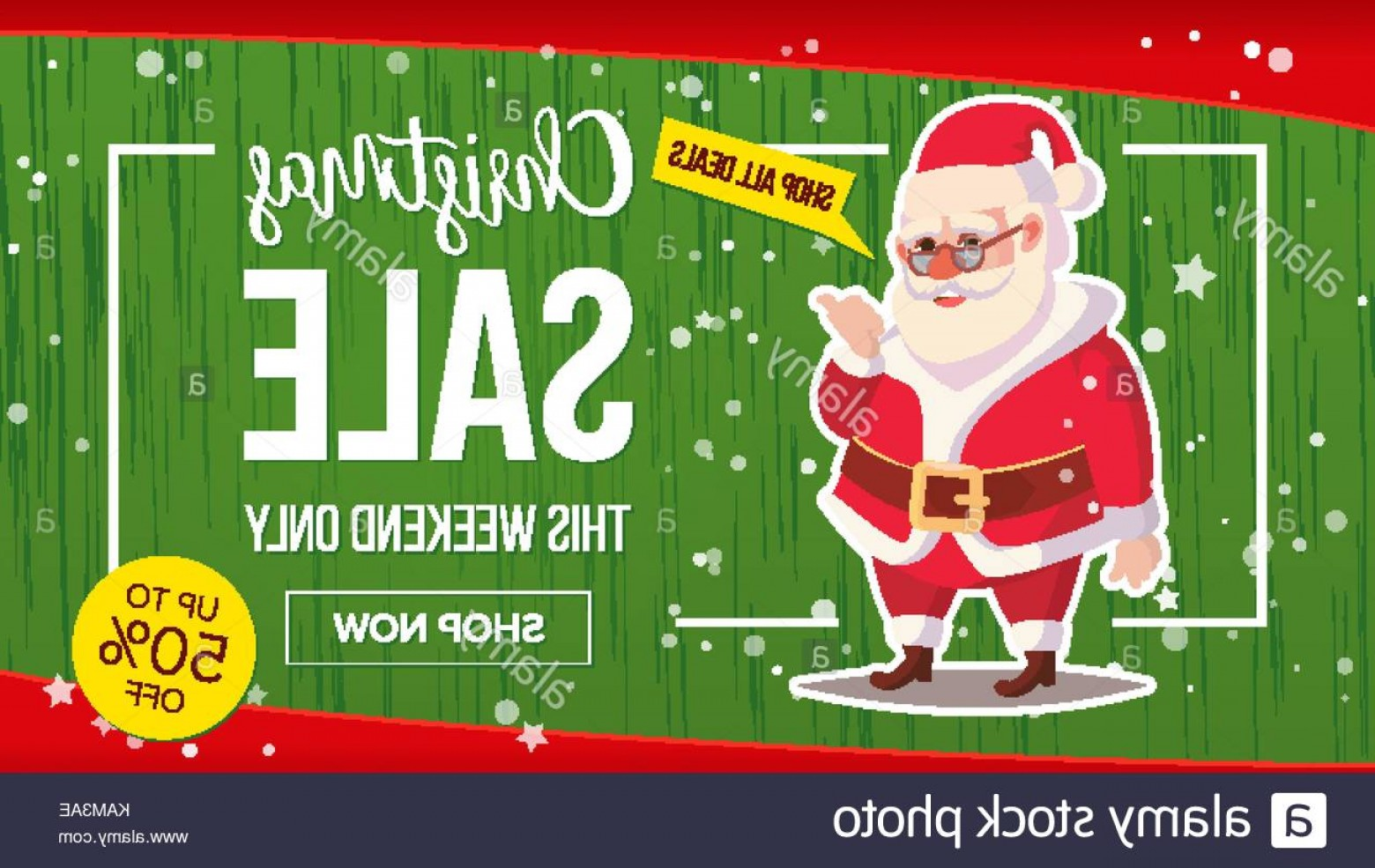 Vector Marketing.com: Stock Image Christmas Sale Banner With Classic Santa Claus Vector Marketing Advertising