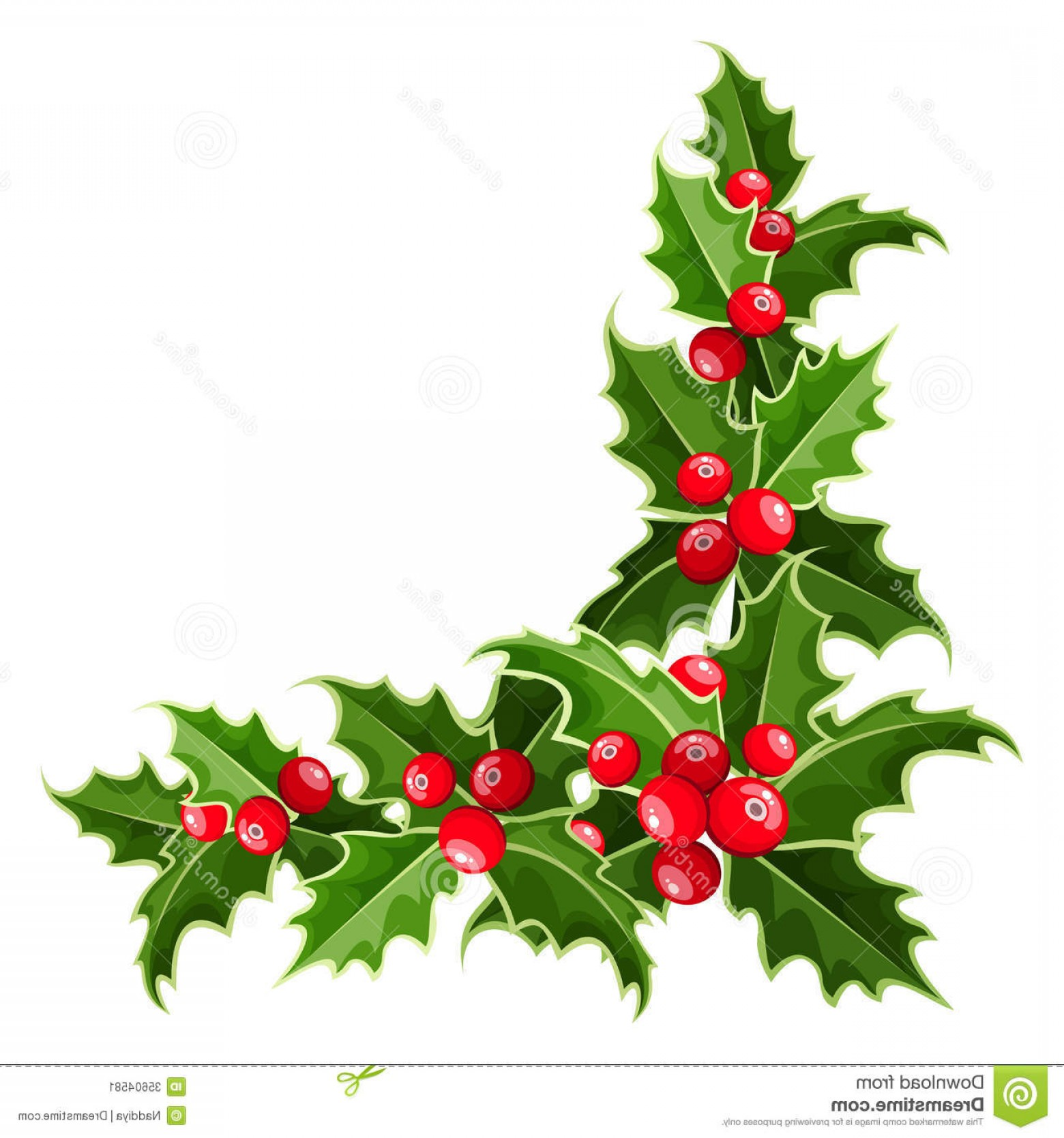 Vector-Based Christmas: Stock Image Decorative Corner Christmas Holly Leaves Berries Image