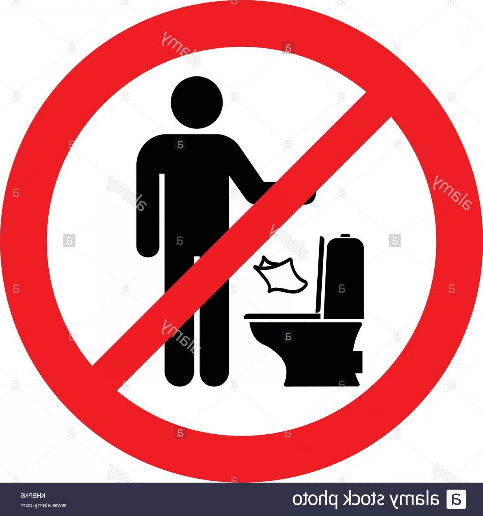 Vector Do Not: Stock Image Do Not Litter Paper In Toilet Prohibition Sign Vector Illustration
