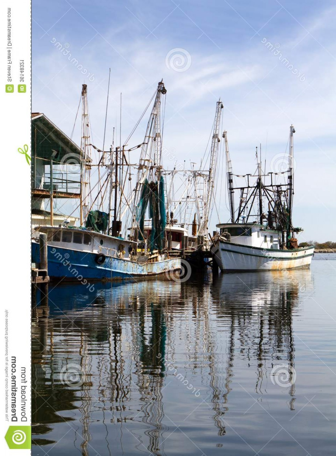 Vector Art Shrimper: Stock Image Docked Shrimp Boats Two Old Rusty Pier Reflections Water Image