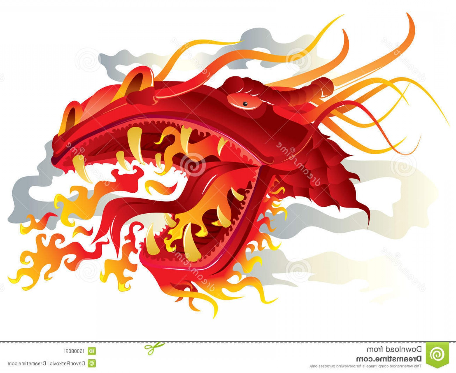 Dragon Fire Vector: Stock Image Dragon Fire Head Image