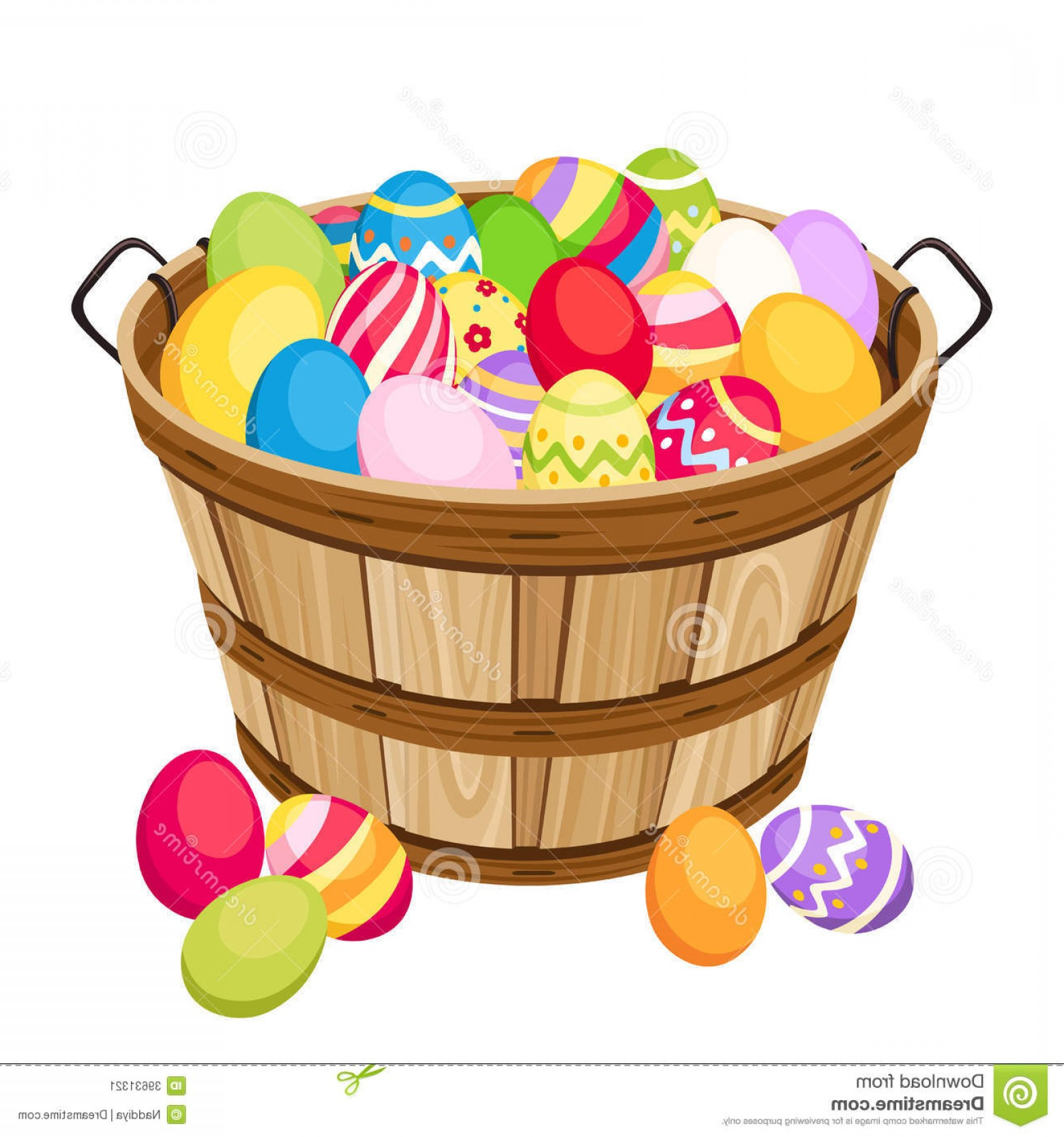 Vector Easter Egg Basket: Stock Image Easter Colorful Eggs Wooden Basket Vector Illu Isolated White Image