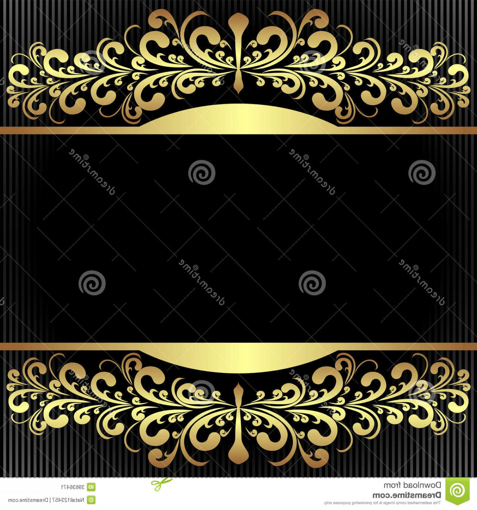 Blue And Gold Border Vector: Stock Image Elegant Black Background Royal Golden Borders Presented Image