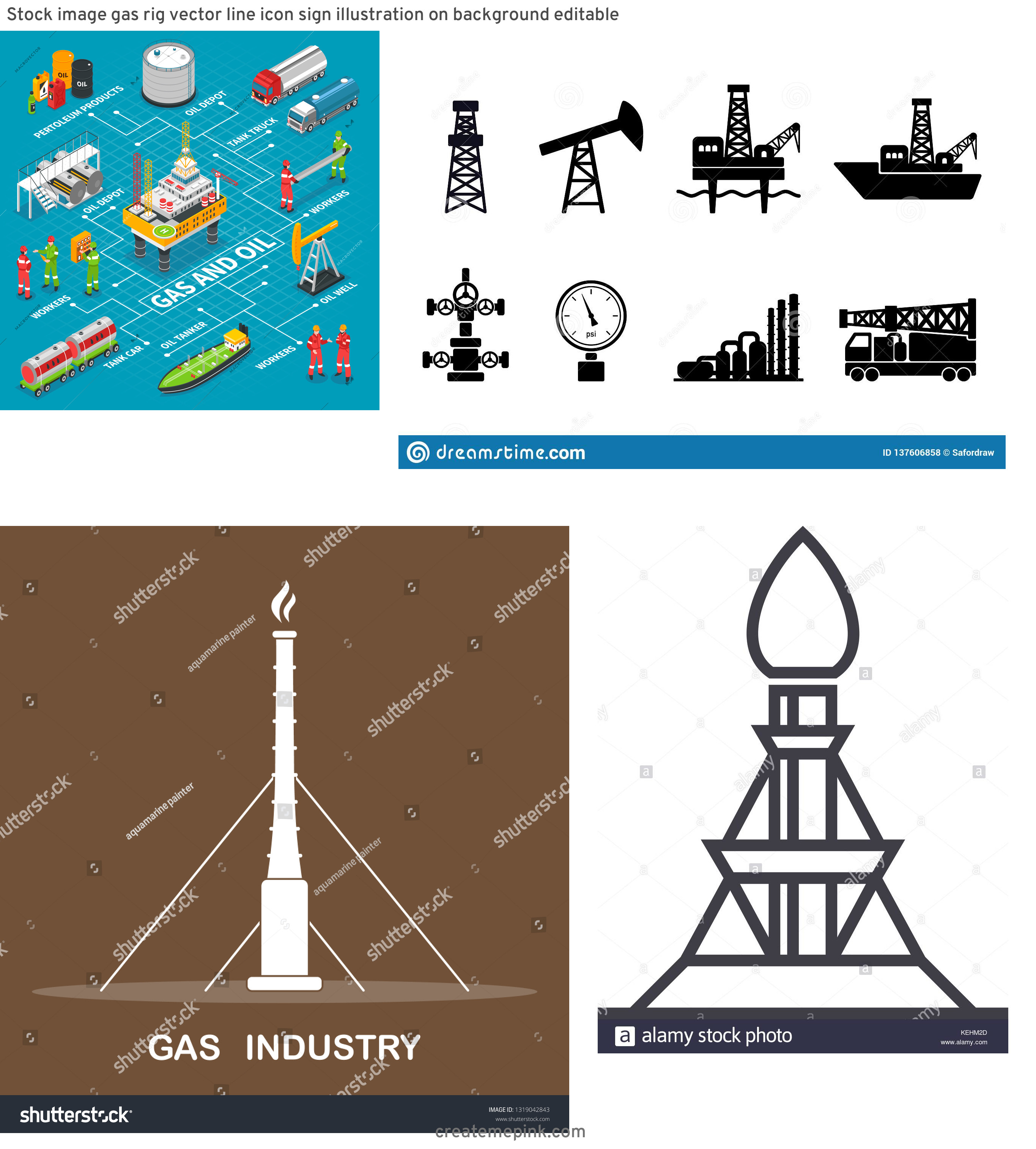 Gas Rig Vector: Stock Image Gas Rig Vector Line Icon Sign Illustration On Background Editable
