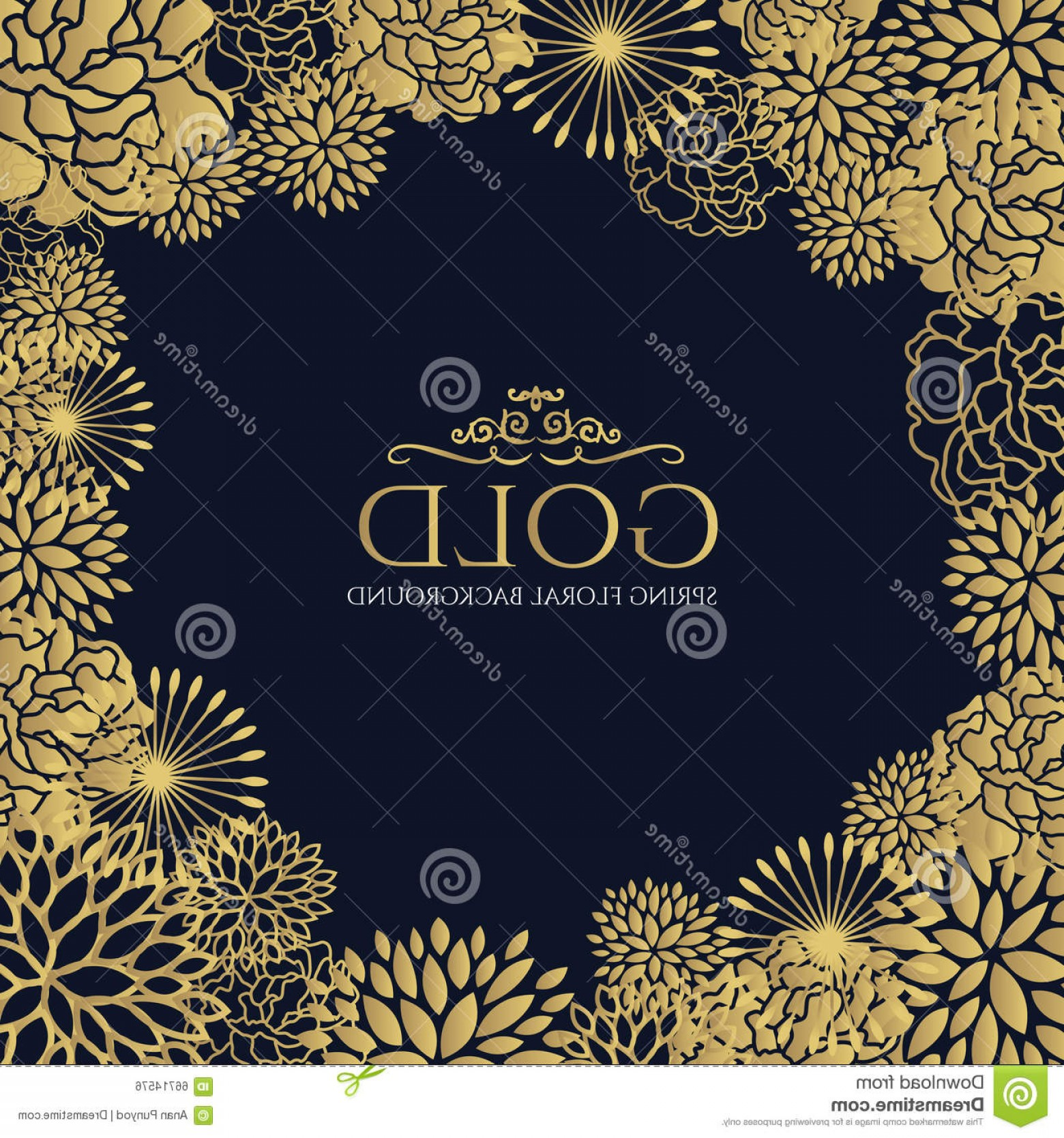 Blue And Gold Border Vector: Stock Image Gold Floral Frame Background Image