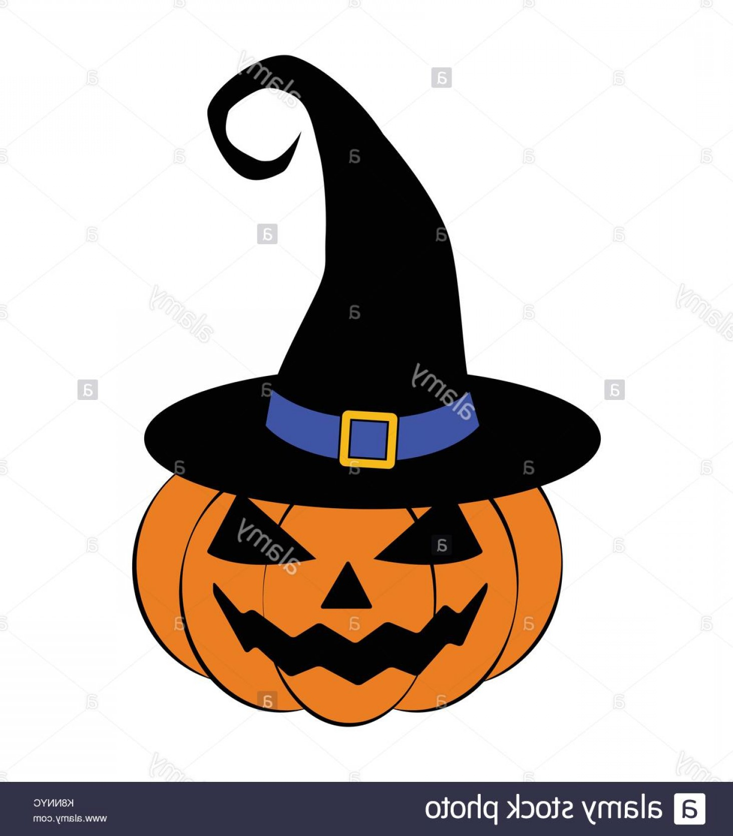 Halloween Witch Hat Vector: Stock Image Halloween Pumpkin In Witches Hat Vector Illustration Jack O Lantern