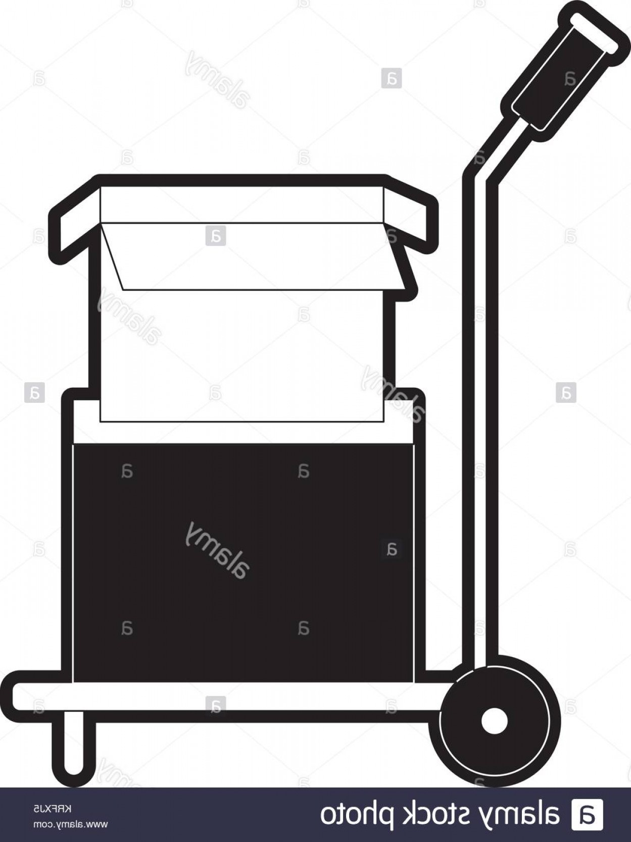Hand Cart Silhouette Vectors: Stock Image Hand Truck With Cardboard Boxes Stacked And One Opened In Black Silhouette