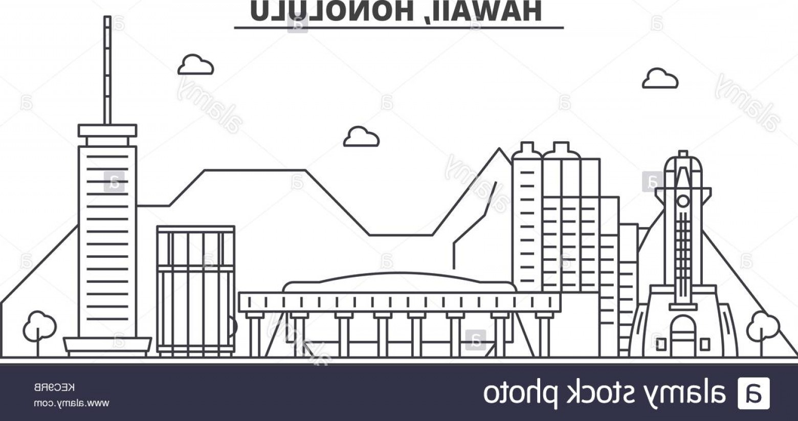 City Of Honolulu At Night Vector: Stock Image Hawaii Honolulu Architecture Line Skyline Illustration Linear Vector