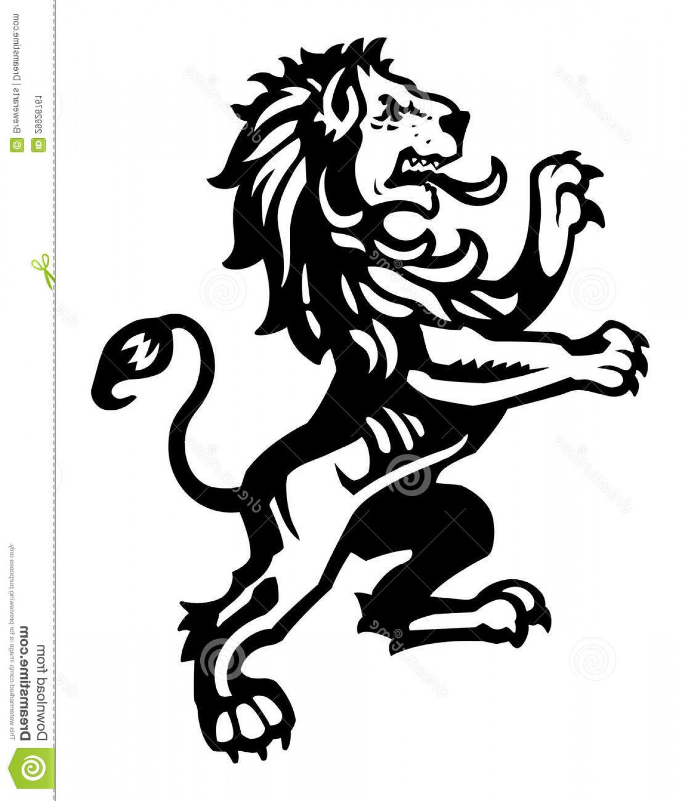 Scotland Heraldic Vector Graphic: Stock Image Heraldic Rampant Lion Illustration Excellent Medieval Crest Imagery Image