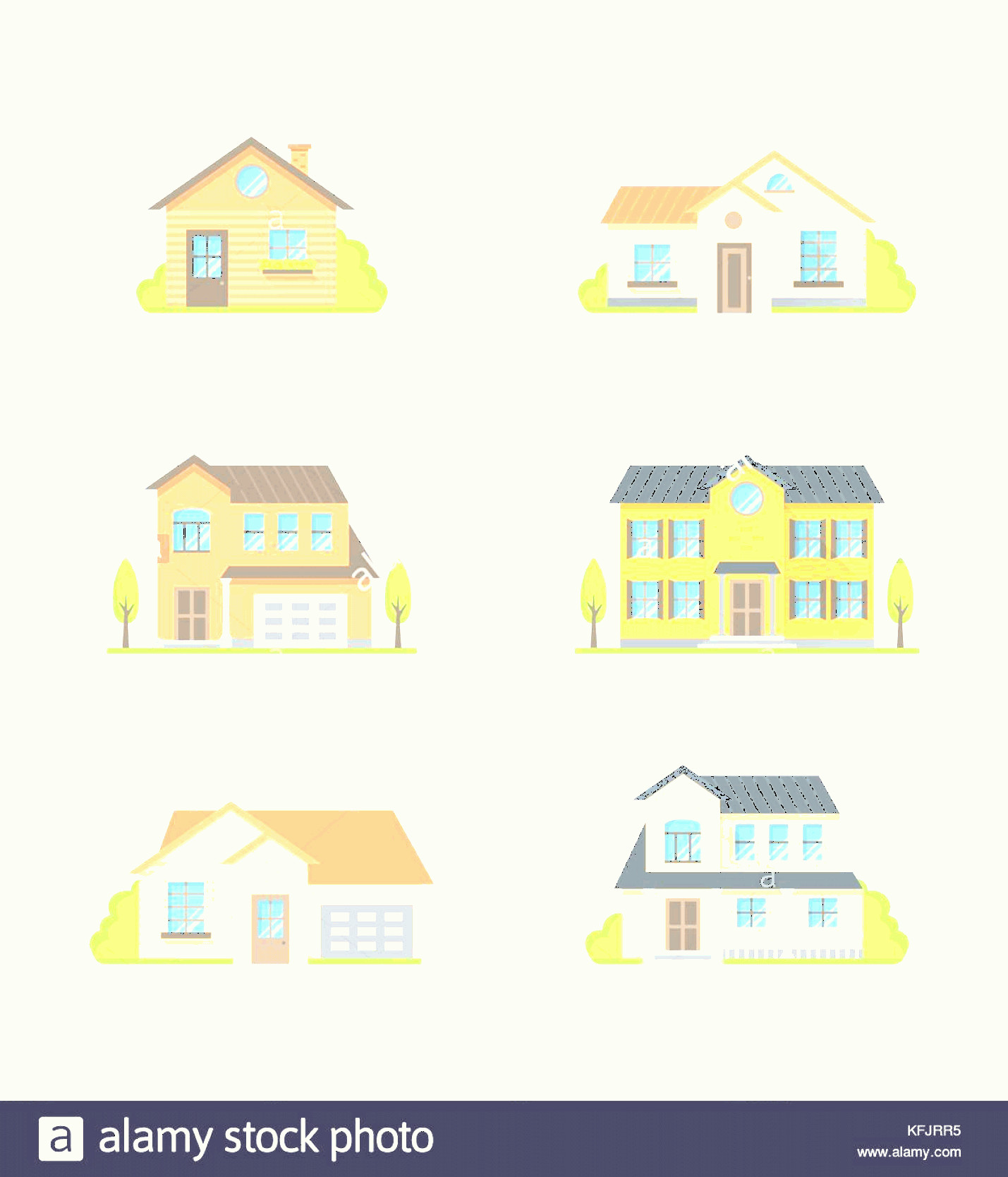 Flat Vector House: Stock Image Houses Vector Colorful Flat Style Icons Set