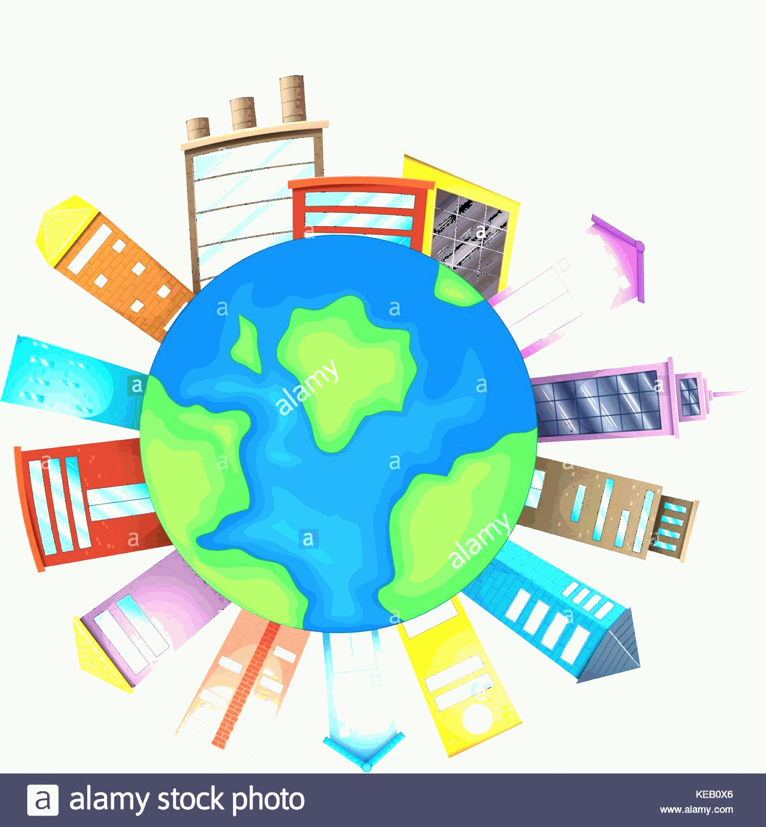 Earth With Buildings Vector: Stock Image Illustration Of Many Buildings Around The Earth