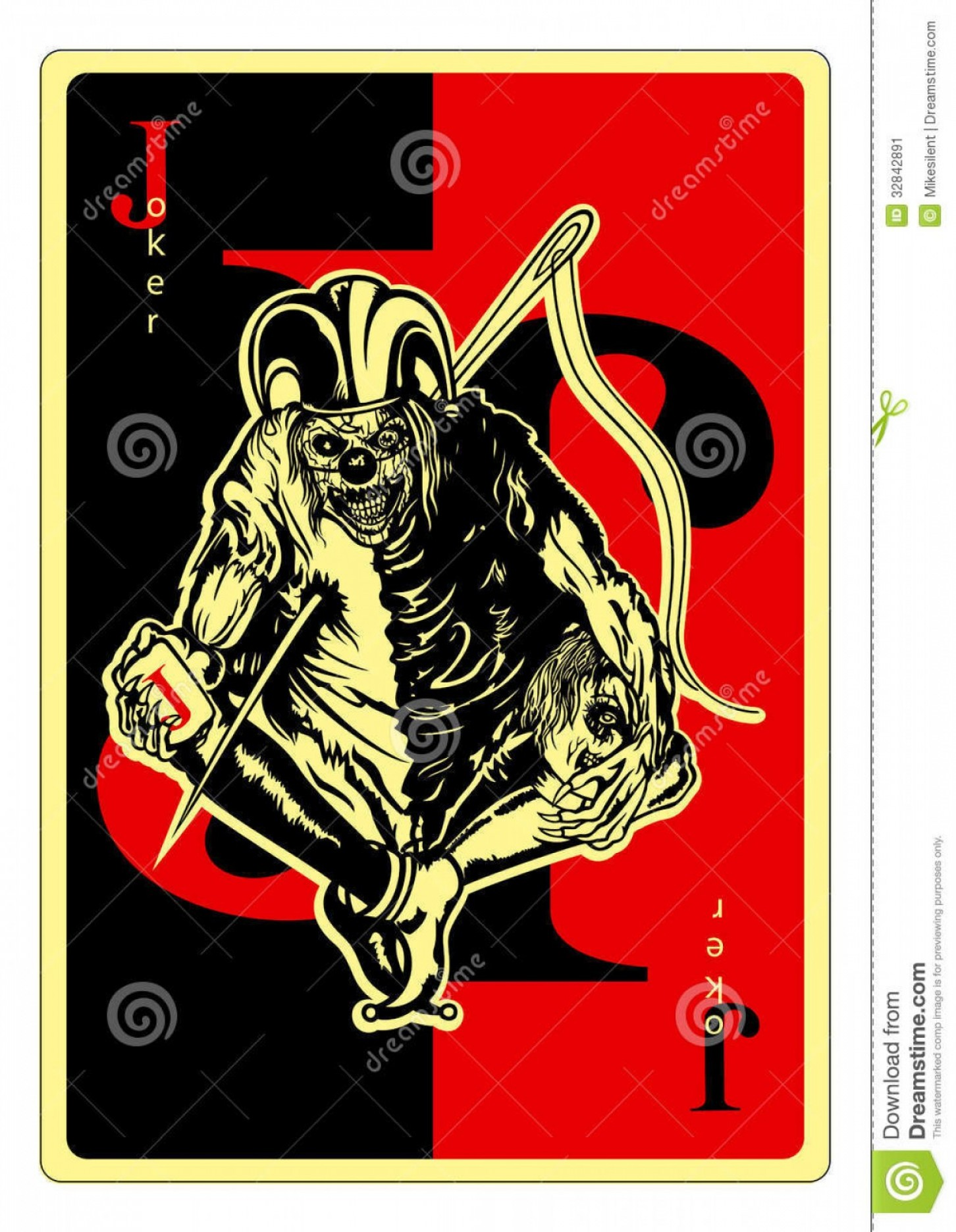 Joker Vector Graphics: Stock Image Joker Playing Card Pierced Needle Vector Graphic Image