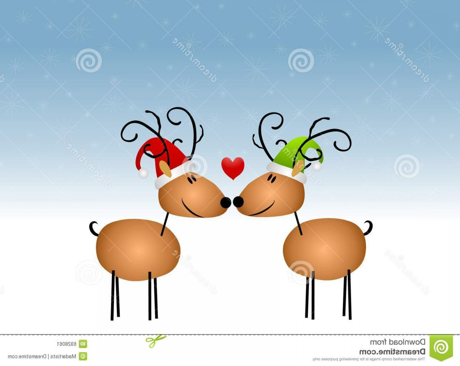 Kissing Reindeer Silhouette Vector: Stock Image Kissing Reindeer Cartoon Image