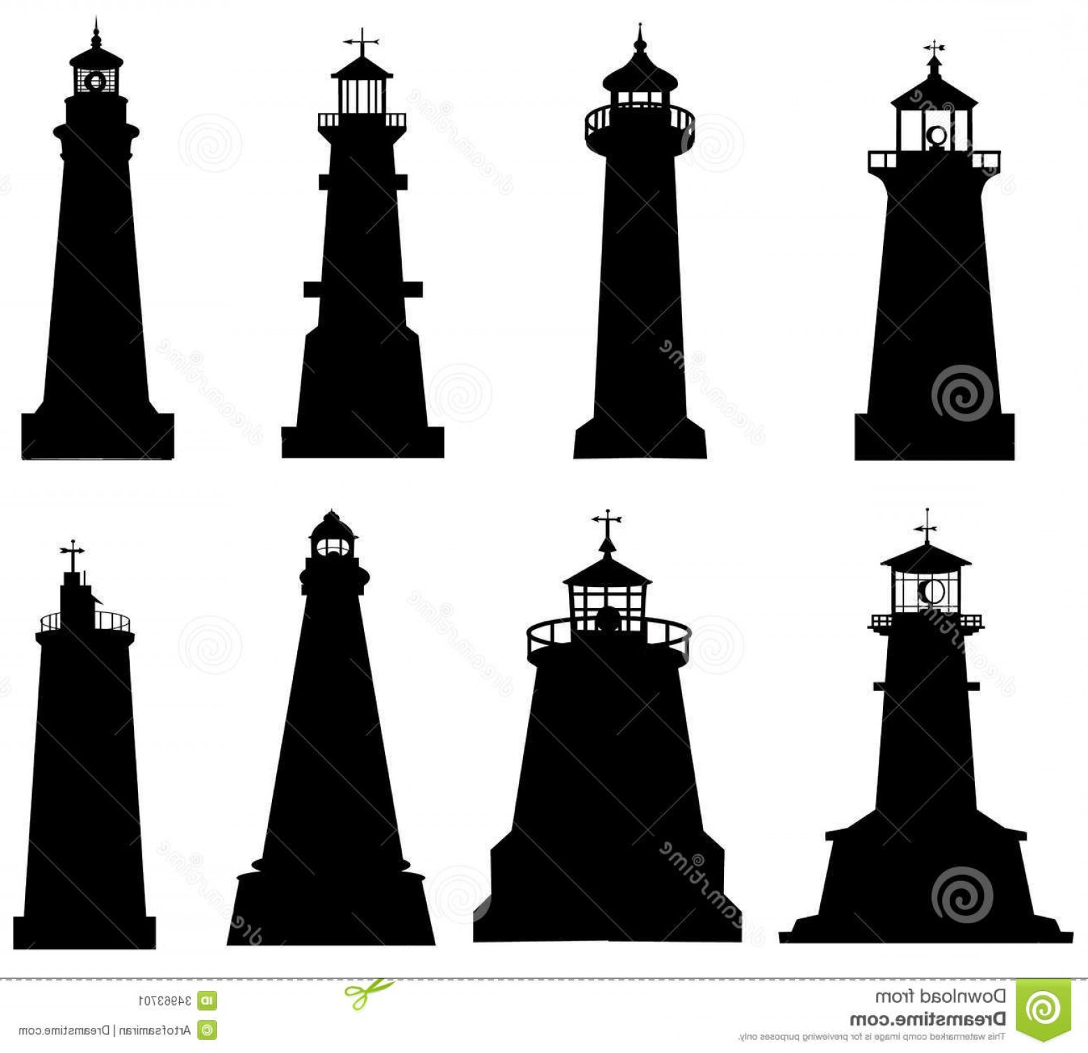 Jupiter Lighthouse Vector: Stock Image Lighthouse Silhouette Set Illustration Image