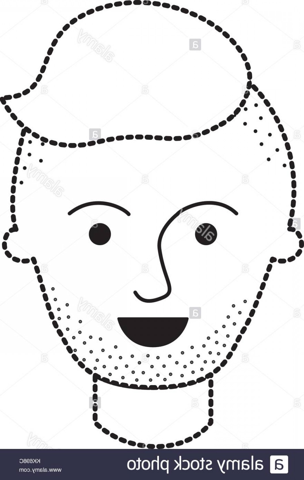 Vector Male Fade Hair: Stock Image Male Face With High Fade Haircut And Stubble Bear In Black Dotted