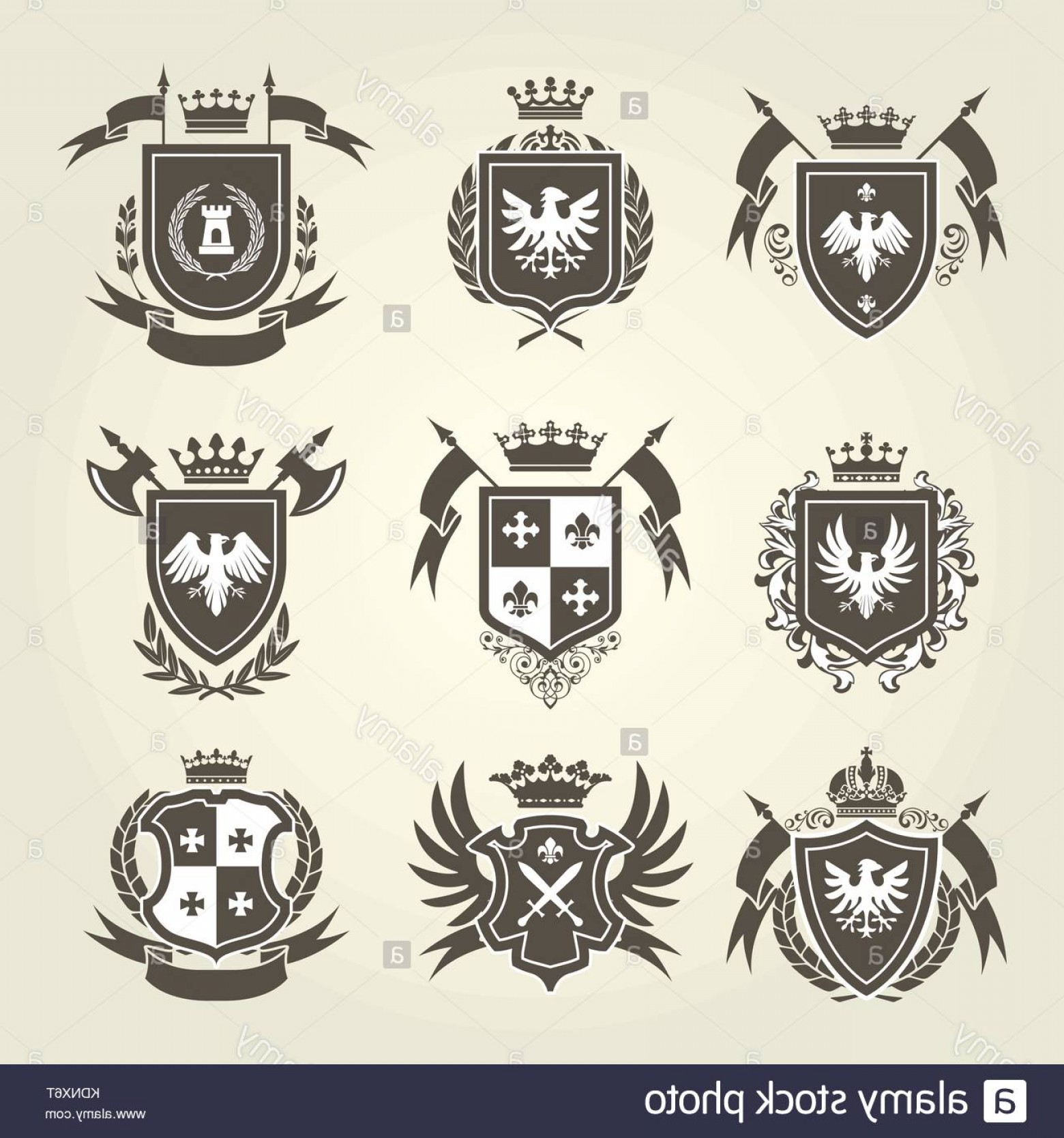 Crest And Coat Of Arms Vector Silhouette: Stock Image Medieval Royal Coat Of Arms And Knight Emblems Heraldic Shield Crest