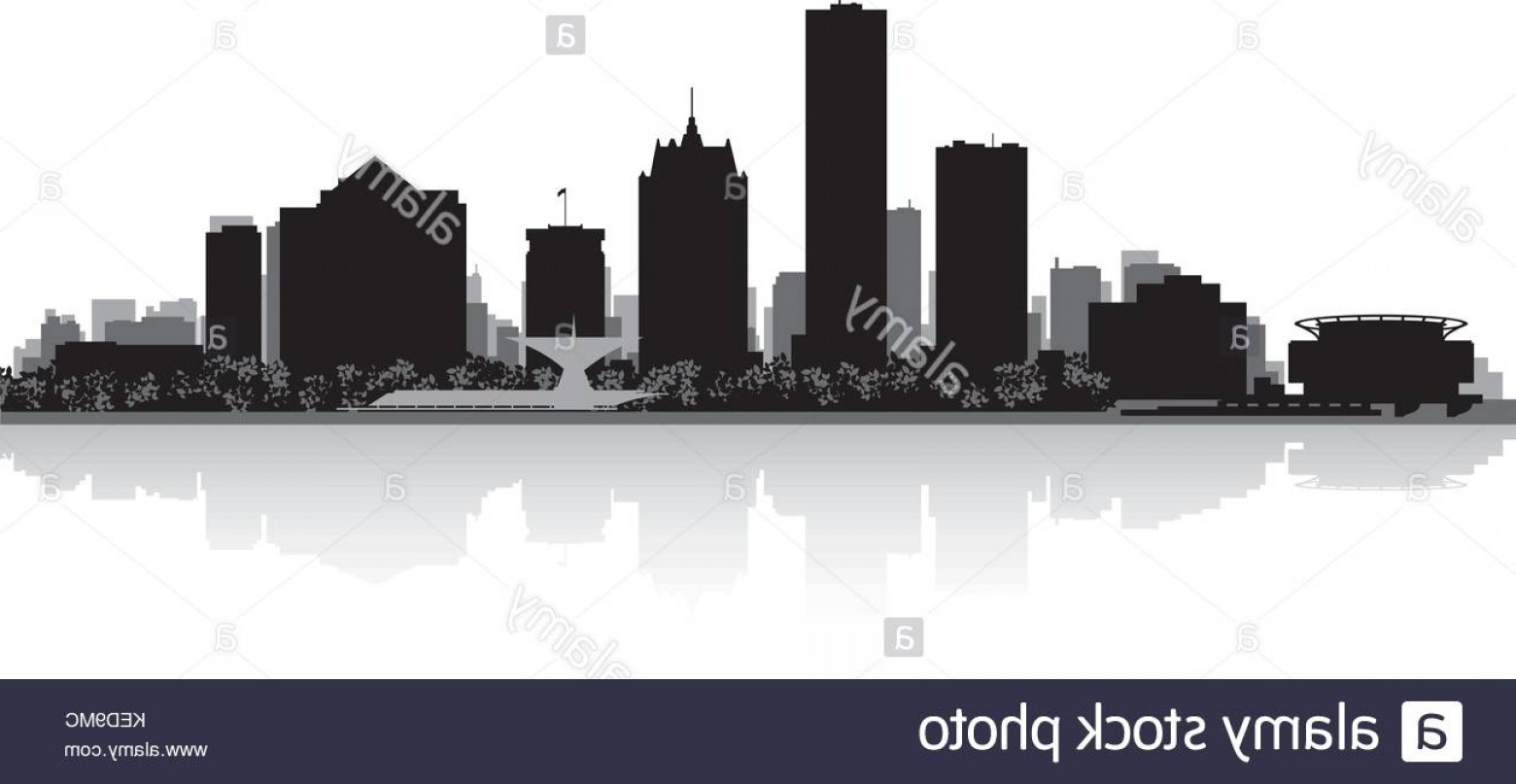 Wicked Boston Skyline Silhouette Vector: Stock Image Milwaukee Usa City Skyline Silhouette Vector Illustration