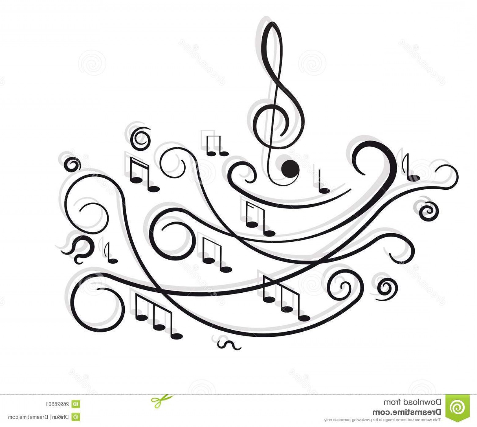 Flourish Music Note Silhouette Vector: Stock Image Musical Notes Ornament Swirls Image