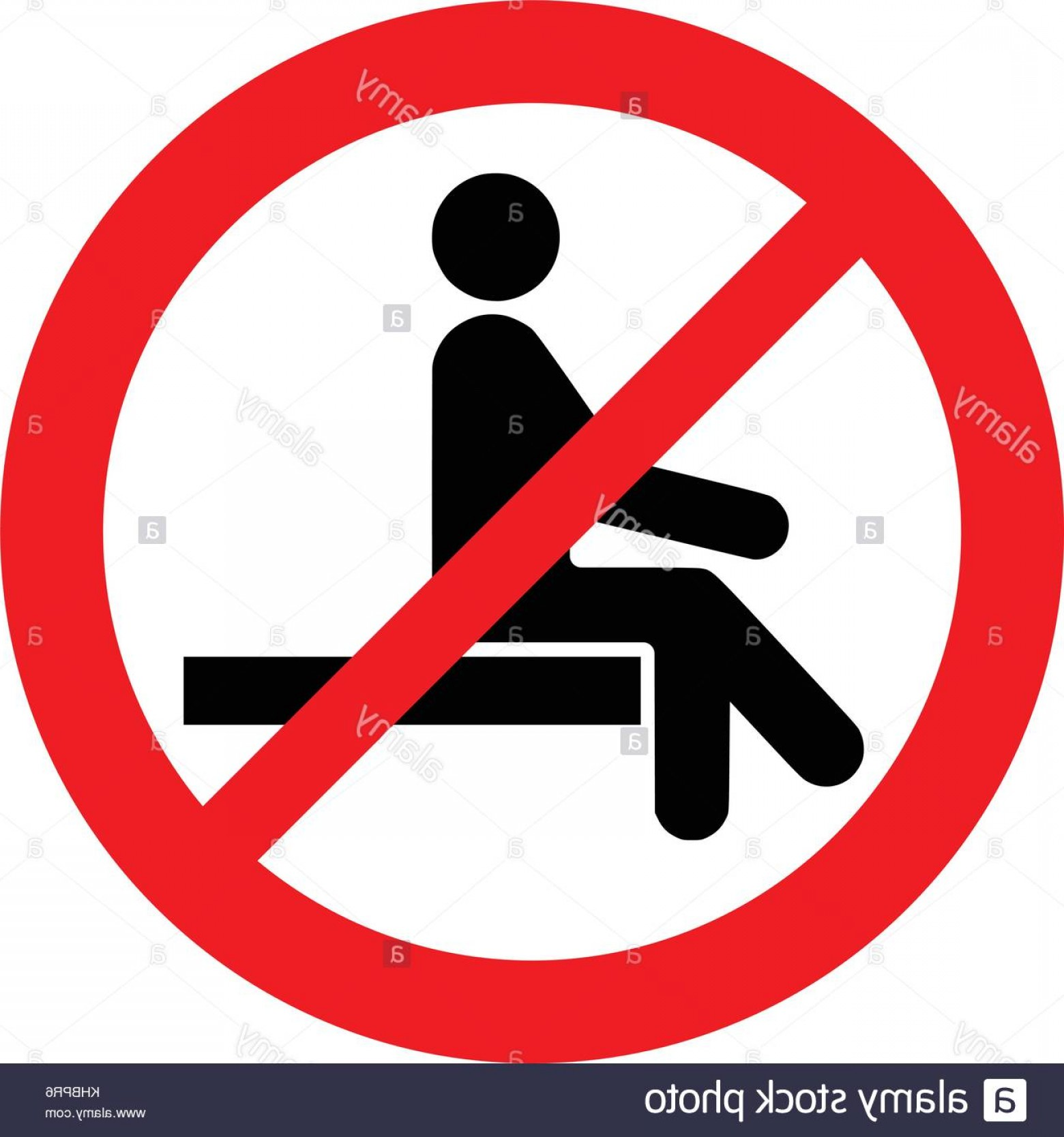 Vector Do Not: Stock Image No Sitting Do Not Sit On Surface Prohibition Sign Vector Illustration