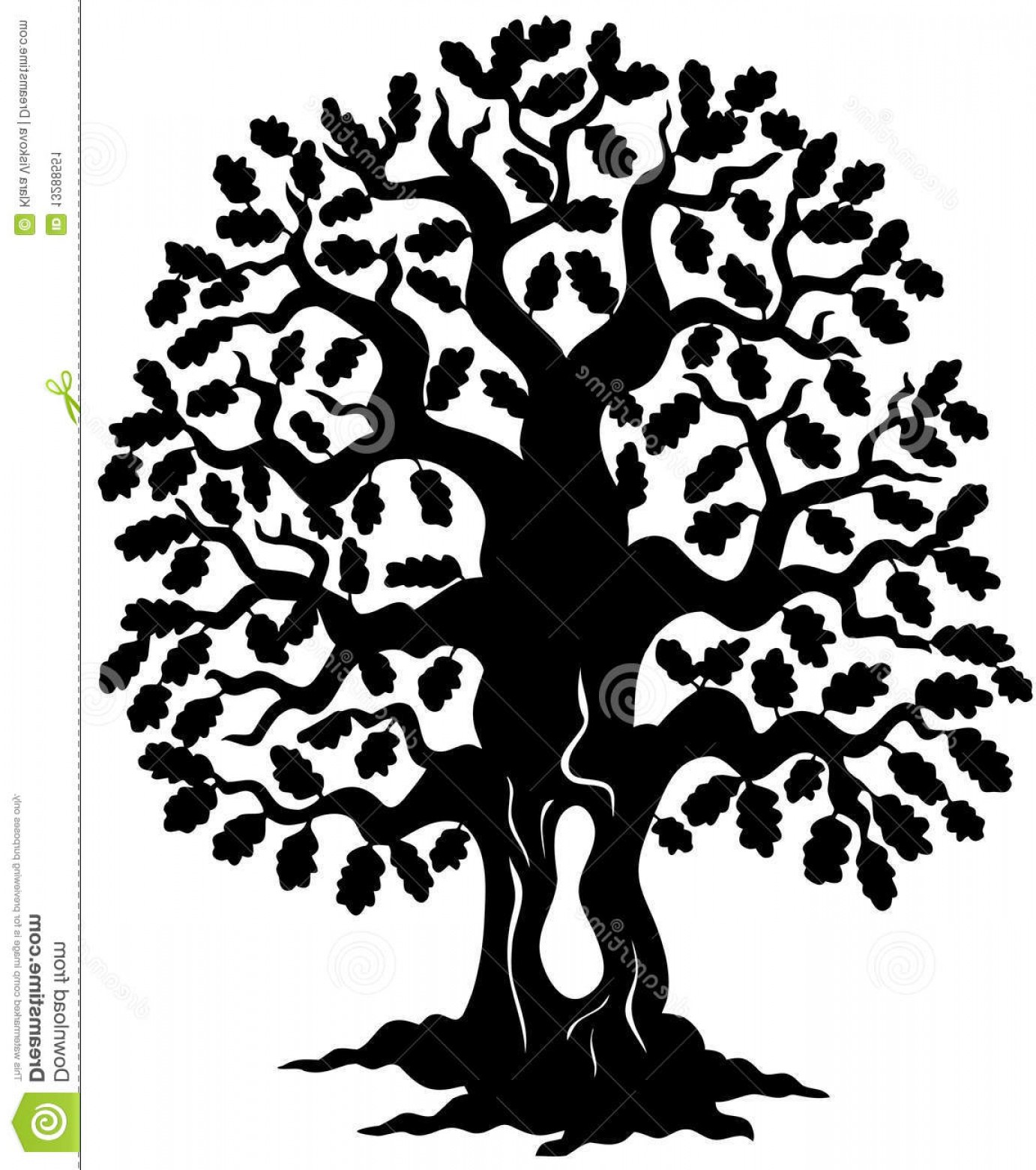 Oak Tree Silhouette Vector Graphics: Stock Image Oak Tree Silhouette Image