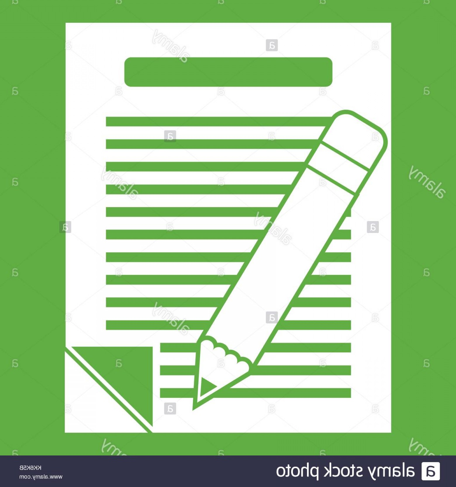 Paper And Pencil Icon Vector: Stock Image Paper And Pencil Icon Green