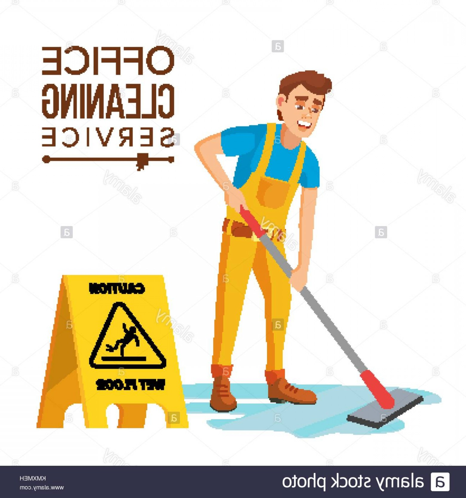 Janitorial Vector: Stock Image Professional Office Cleaner Vector Janitor With Cleaning Equipment