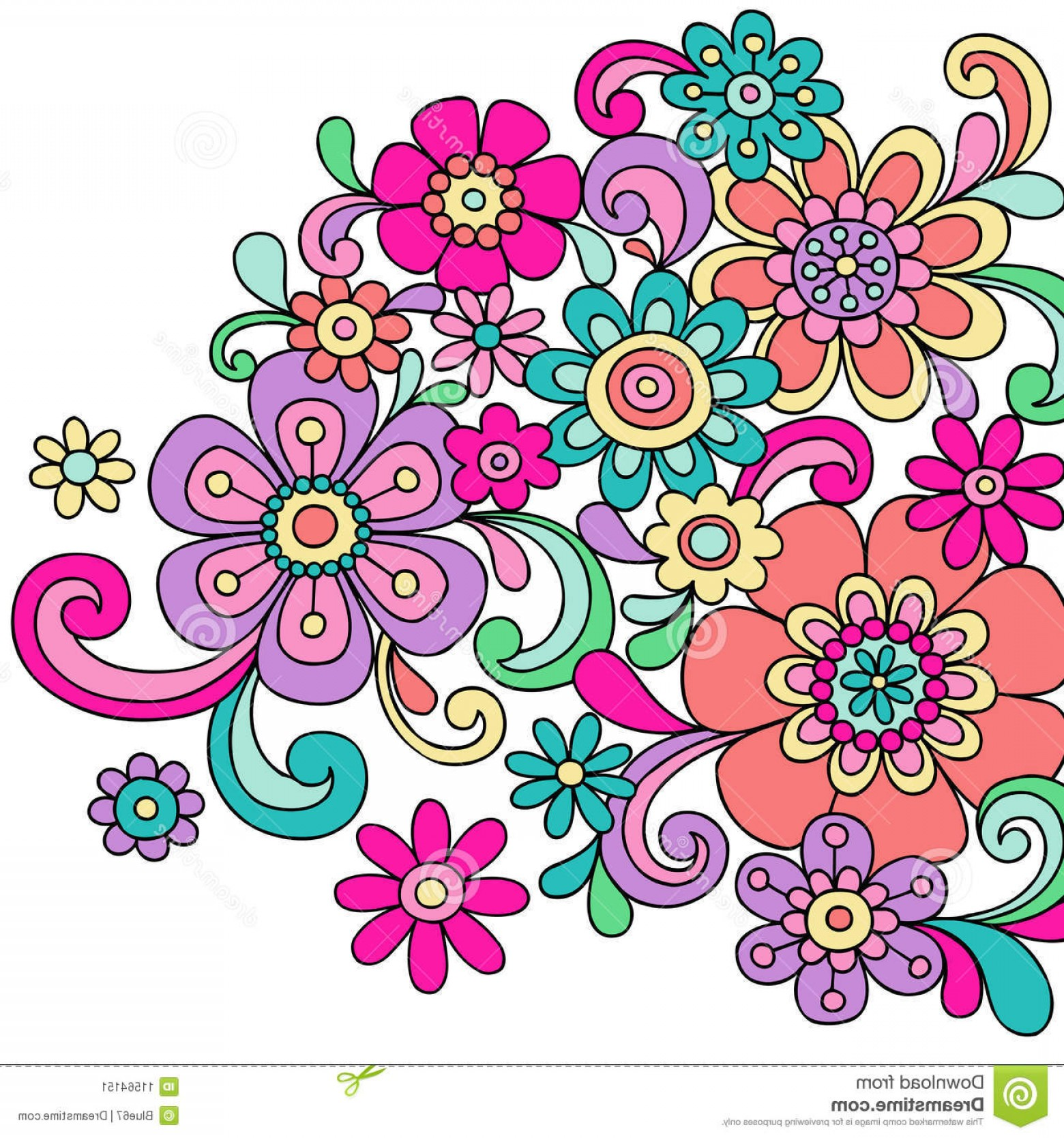 Paisley Swirl Flower Vector: Stock Image Psychedelic Doodle Henna Flowers Vector Image