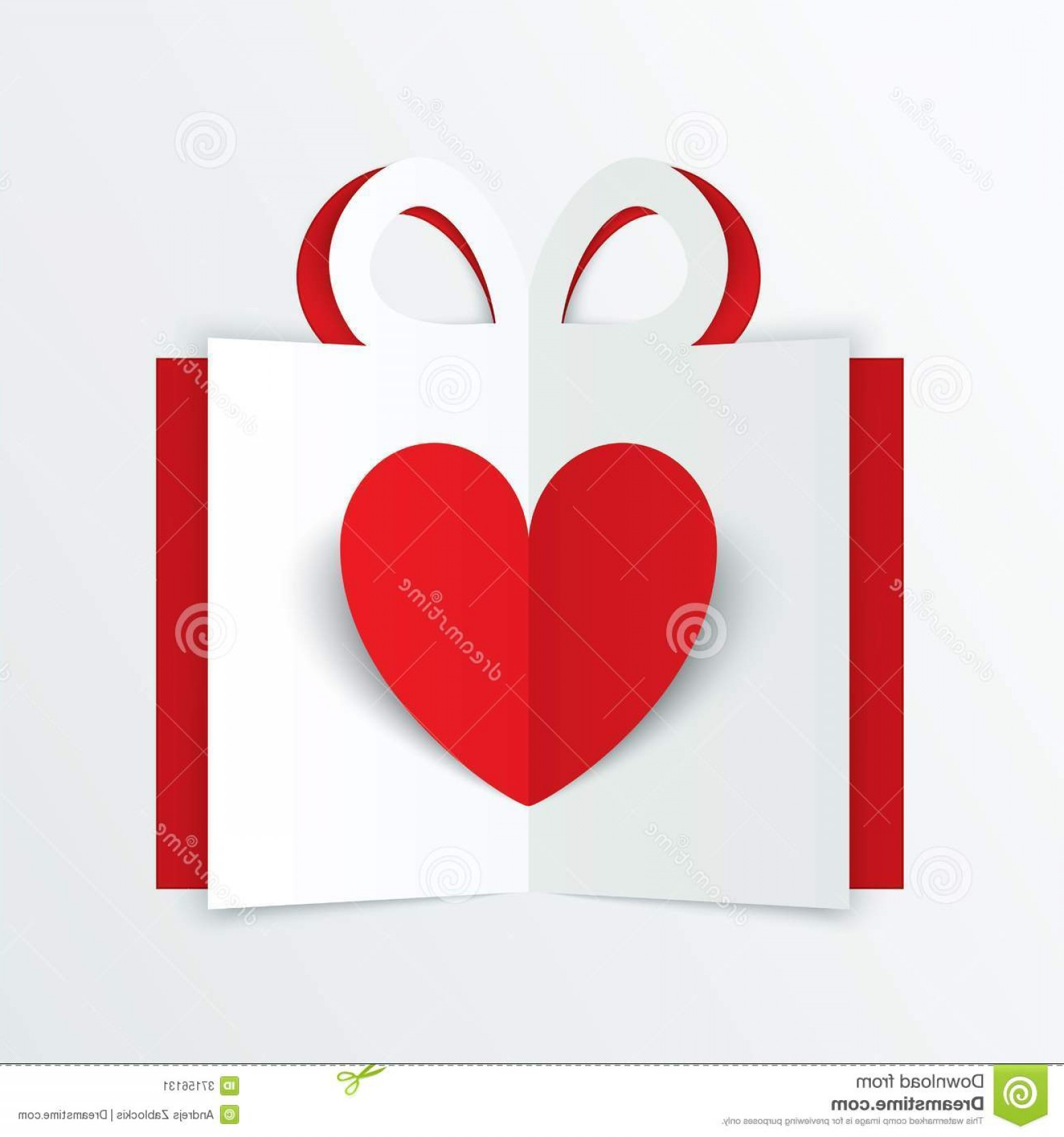 Heart Card Vector: Stock Image Red Paper Heart Gift Box Valentines Day Card White Background Cut Vector Illustration Image