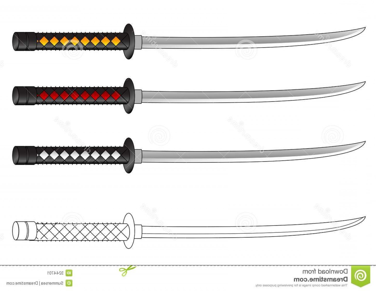 Samuri Sword Vector: Stock Image Samurai Sword Vector Drawing Image