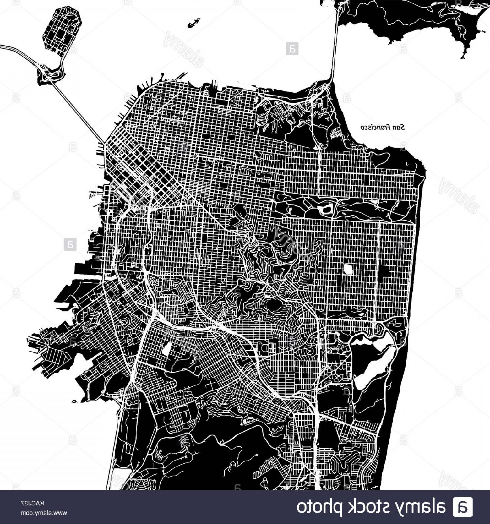 California Black And White Vector: Stock Image San Francisco California Downtown Vector Map City Name On A Separate