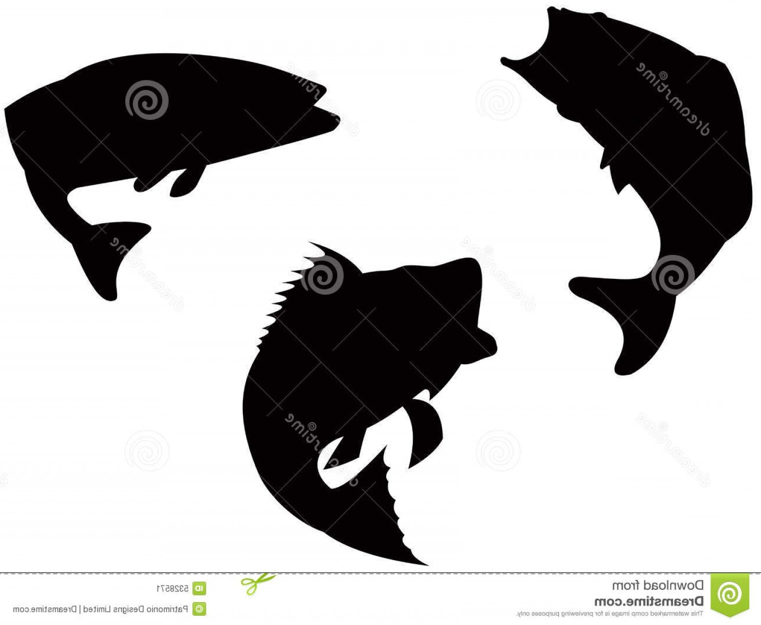 Largemouth Bass Silhouette Vector: Stock Image Sea Bass Jumping Image