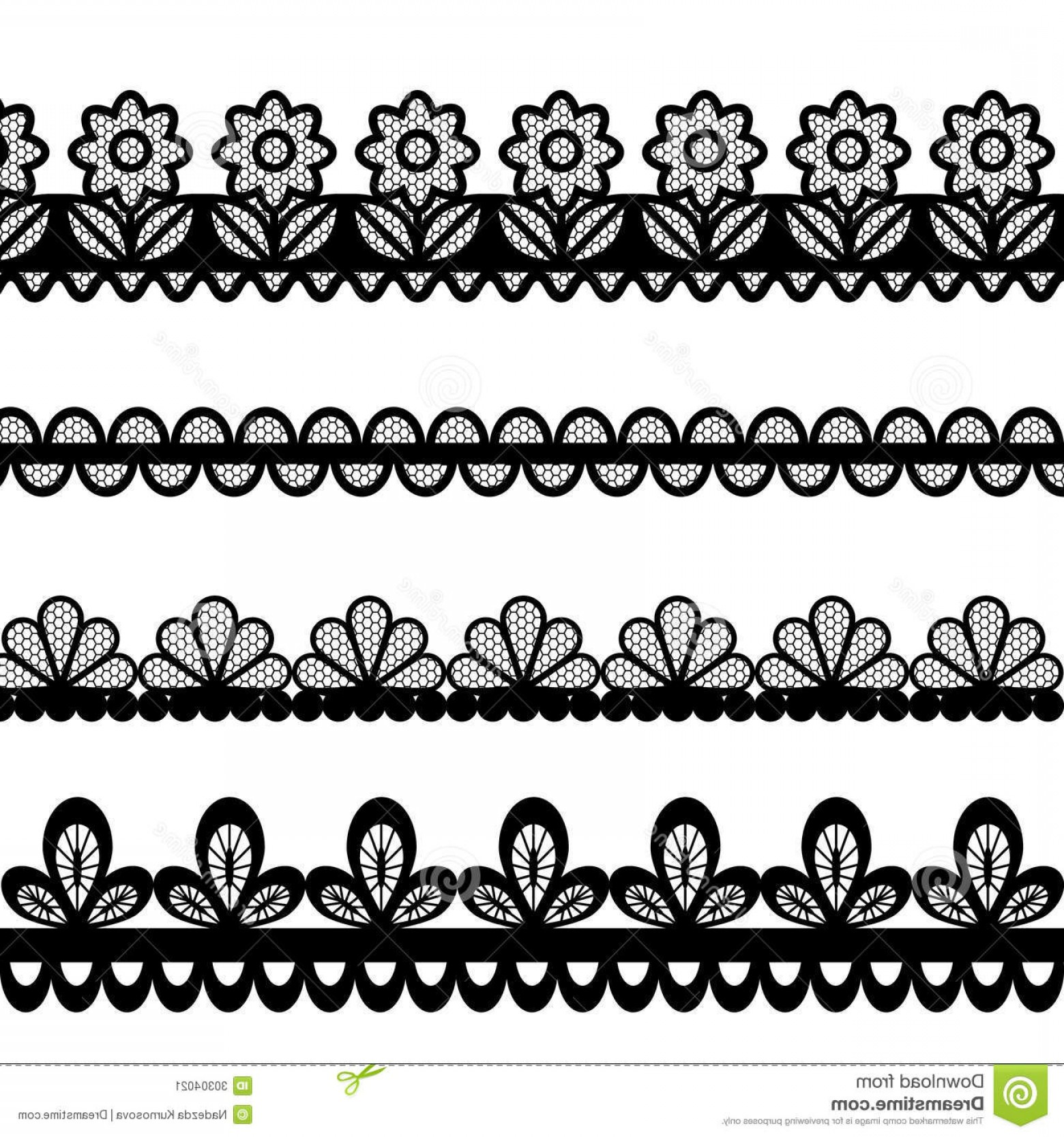 Floral Lace Trim Vector: Stock Image Set Lace Vector Borders File Eps Format Image