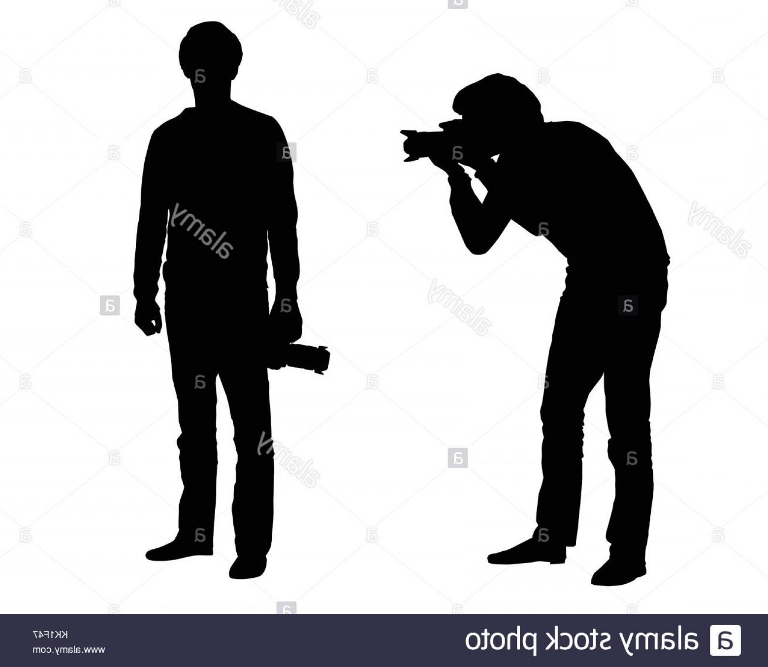 Vector Police Officer Kneeling: Stock Image Set Of Realistic Vector Silhouettes Of Kneeling And Standing Photographer