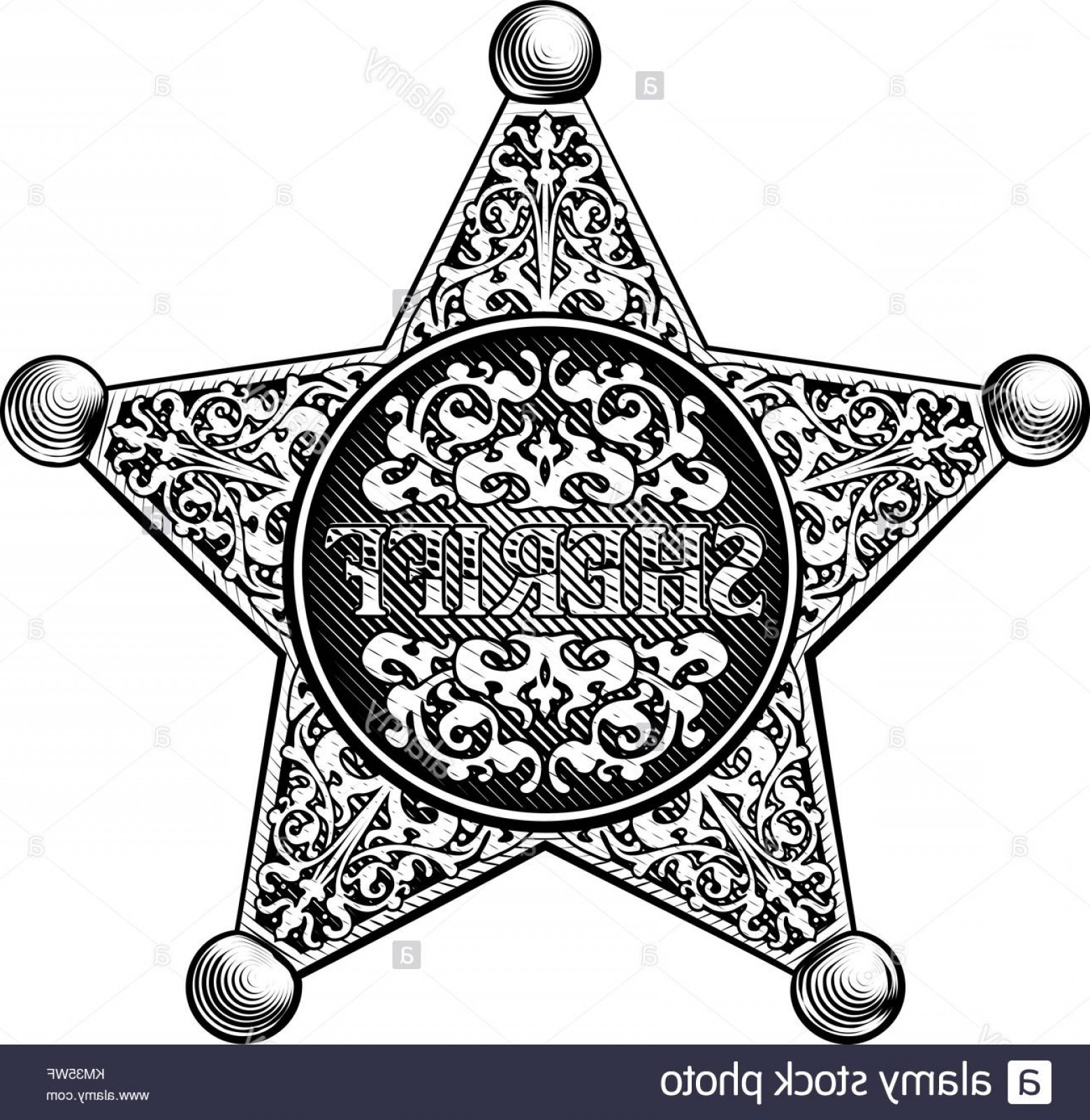 Western Star Vector Graphics: Stock Image Sheriff Star Badge Western Style