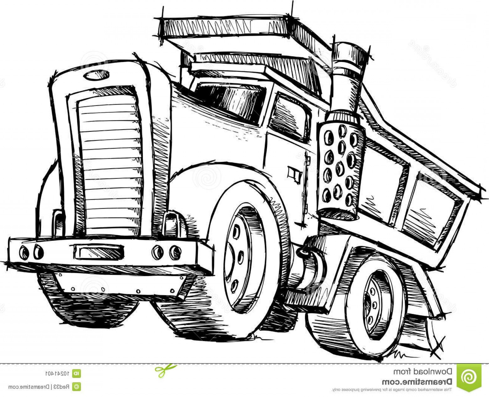 Dump Truck Vector Black And White: Stock Image Sketchy Dump Truck Vector Image