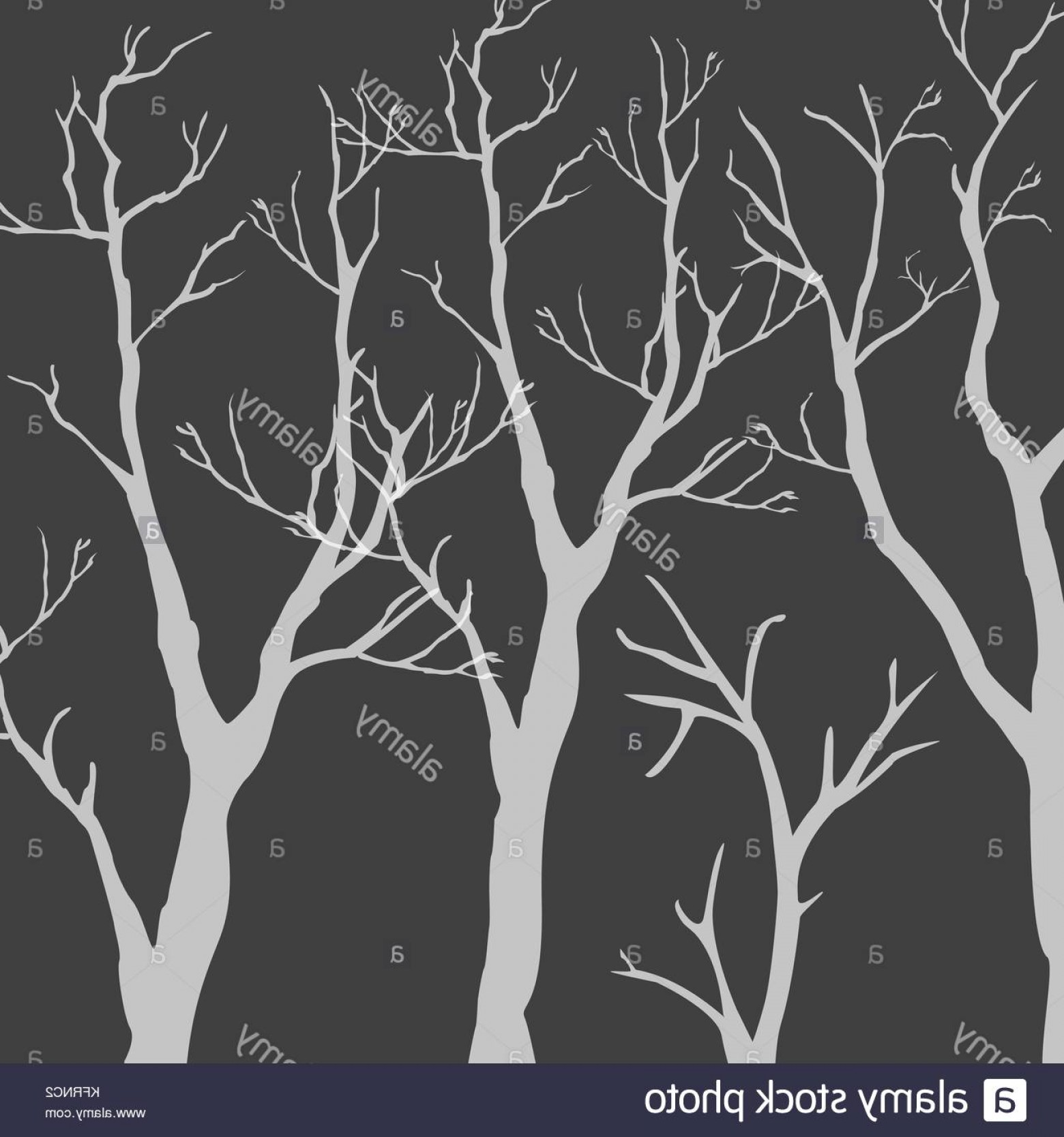 Continuous Tree Branch Vector Image: Stock Image Trees With No Leaves Continuous Pattern Partly Seamless Vector Illustration