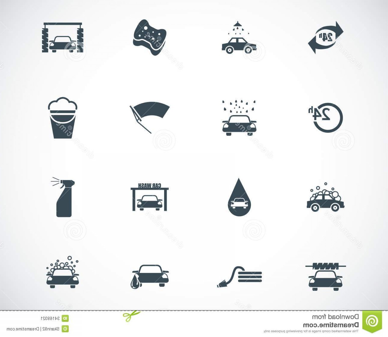 Car Wash Vector Graphics: Stock Image Vector Black Car Wash Icons Set Image