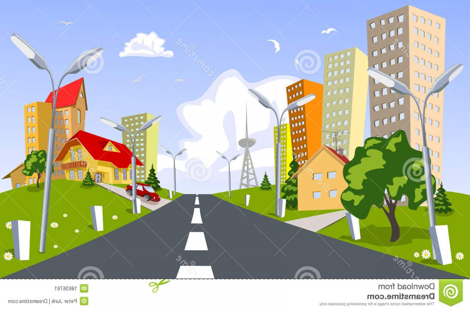 City Vector: Stock Image Vector City Summer Image