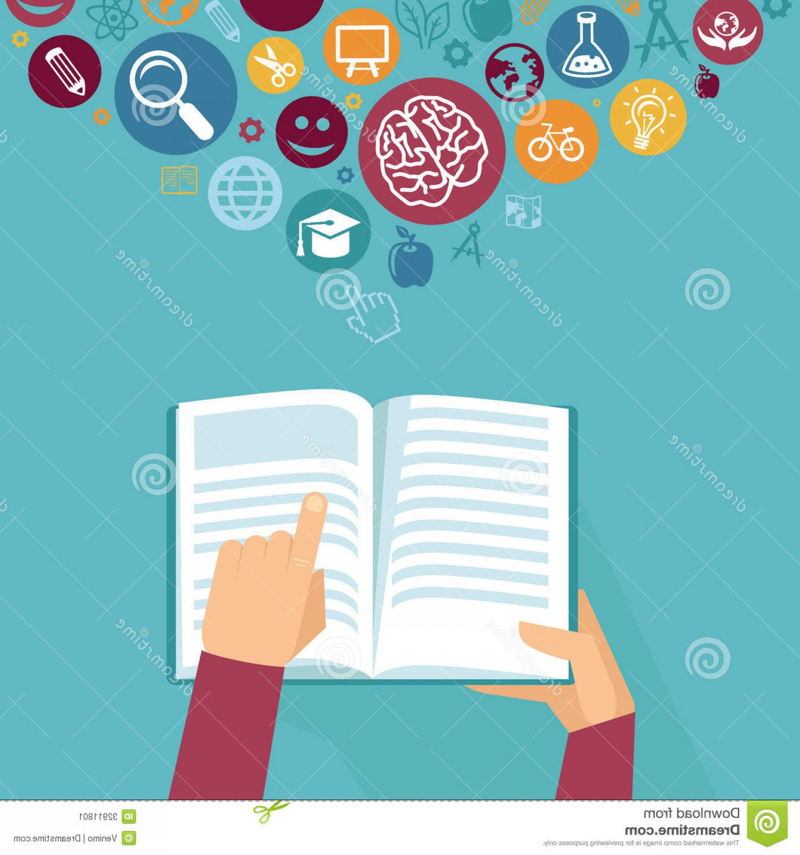 Open Book Vector Flat: Stock Image Vector Education Concept Hands Holding Book Icons Flat Retro Style Image