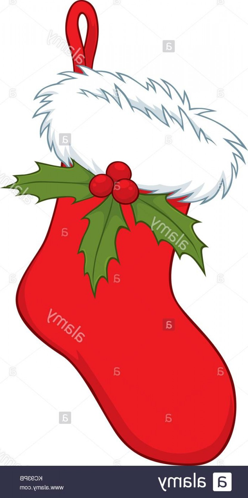 Vector-Based Grayscale Christmas: Stock Image Vector Illustration Of Christmas Stocking Decorated With Holly Leaves