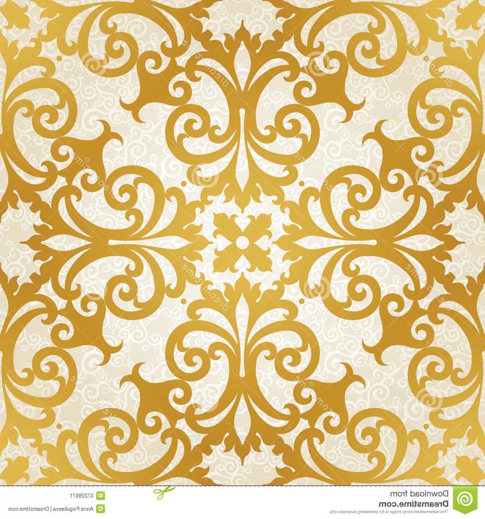 Victorian Motif Vector: Stock Image Vector Seamless Pattern Swirls Floral Motifs Retro Style Golden Victorian Background Can Be Used Wallpaper Image