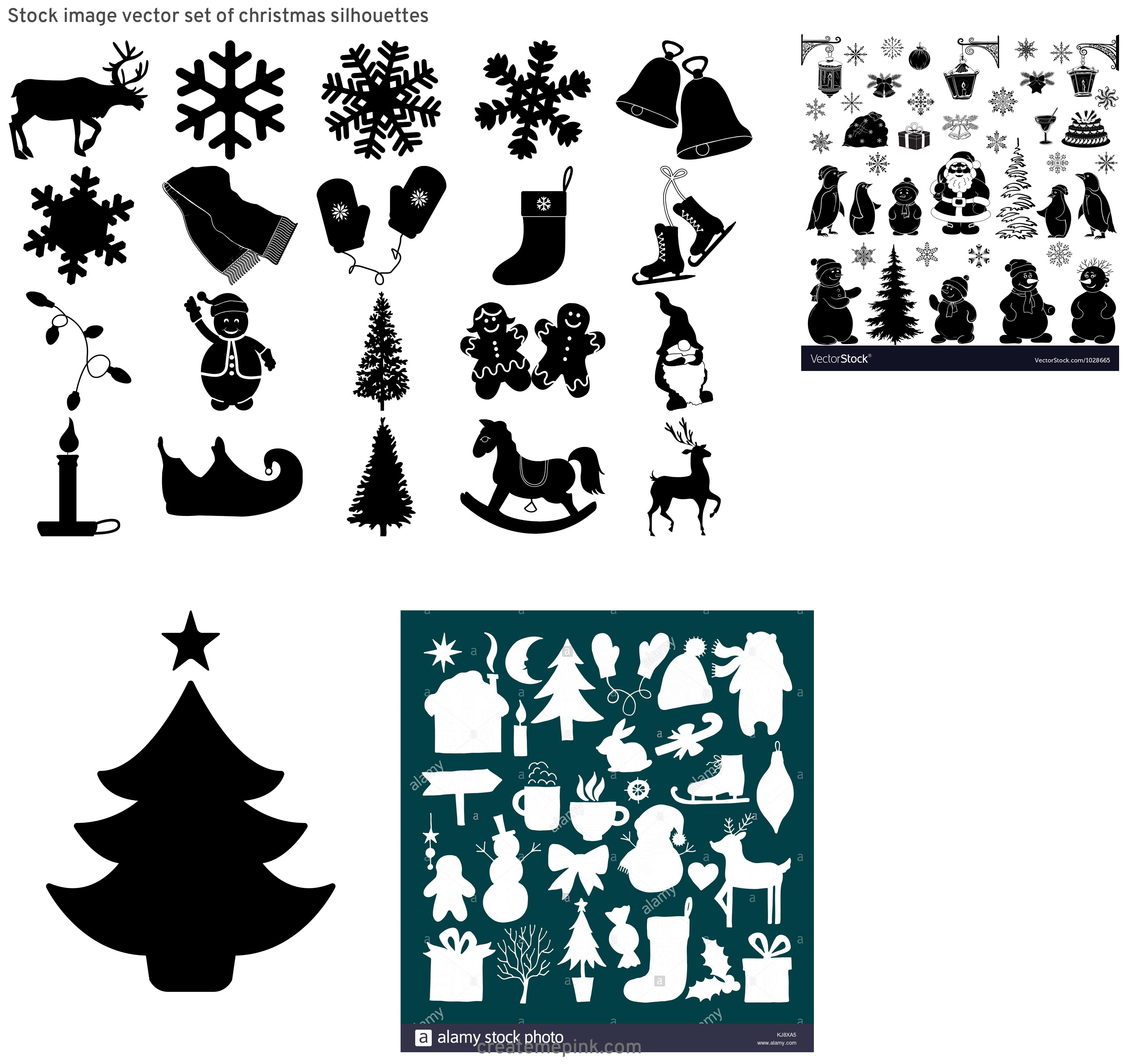 Christmas Silohette Vector: Stock Image Vector Set Of Christmas Silhouettes