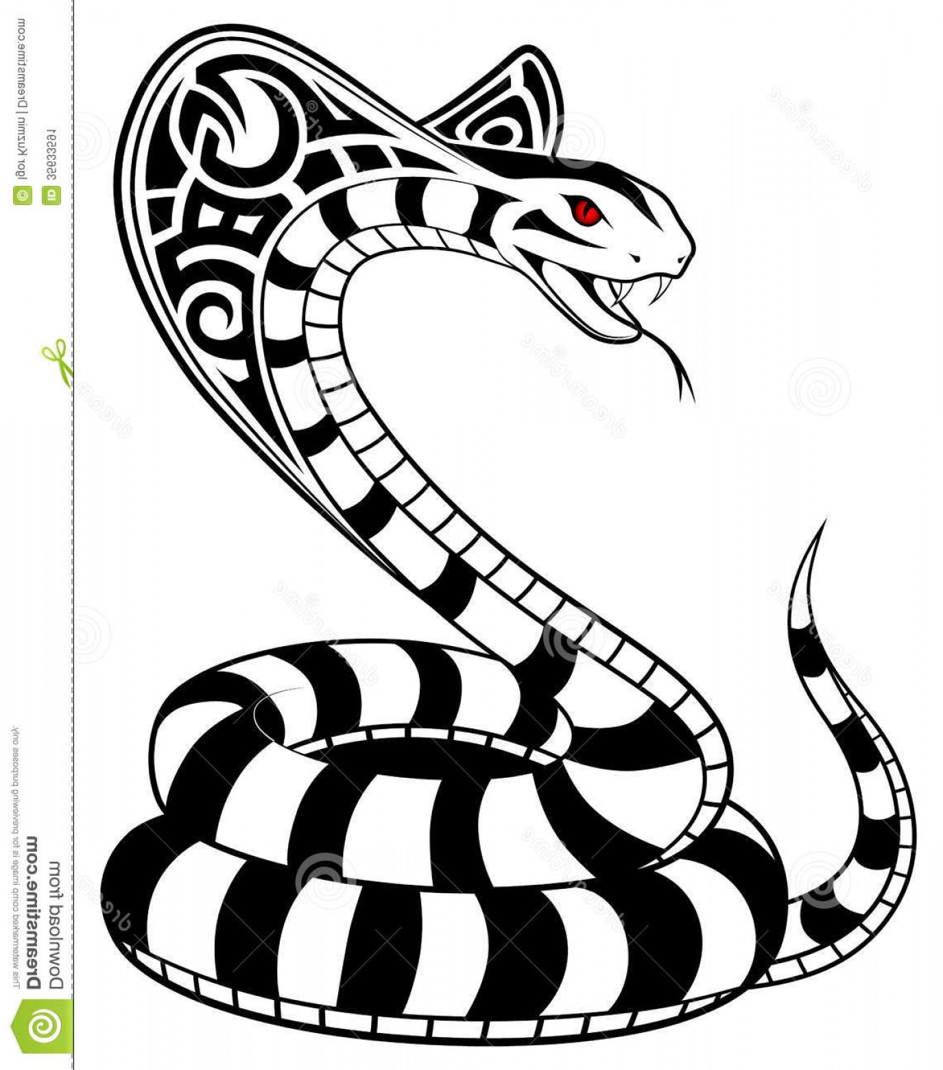 Snake Crown Vector: Stock Image Vector Snake Tribal Tattoo Cobra Form Image