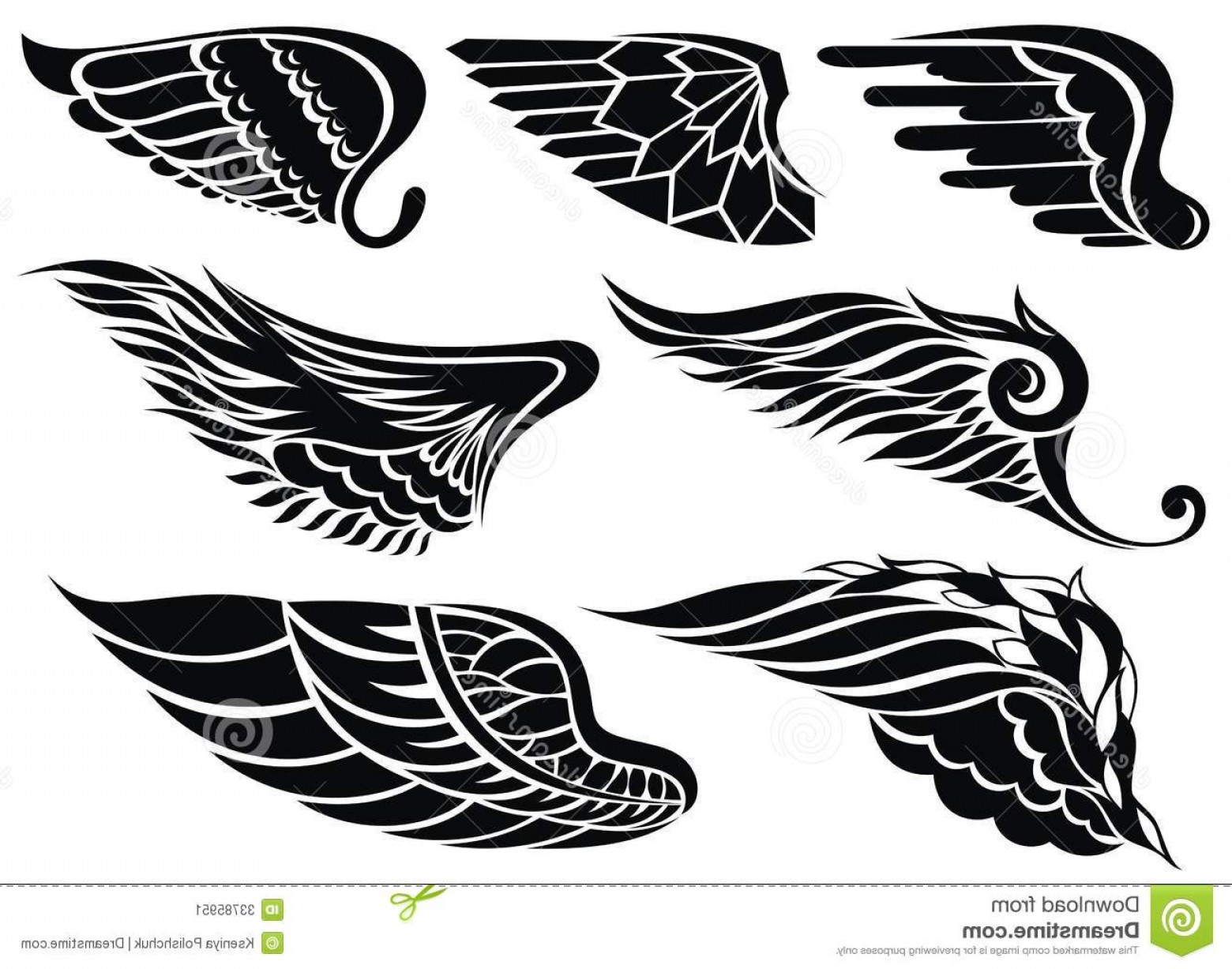 Angel Wings Tattoo Tribal Vector: Stock Image Wings Tattoo Tribal Set Your Design Image