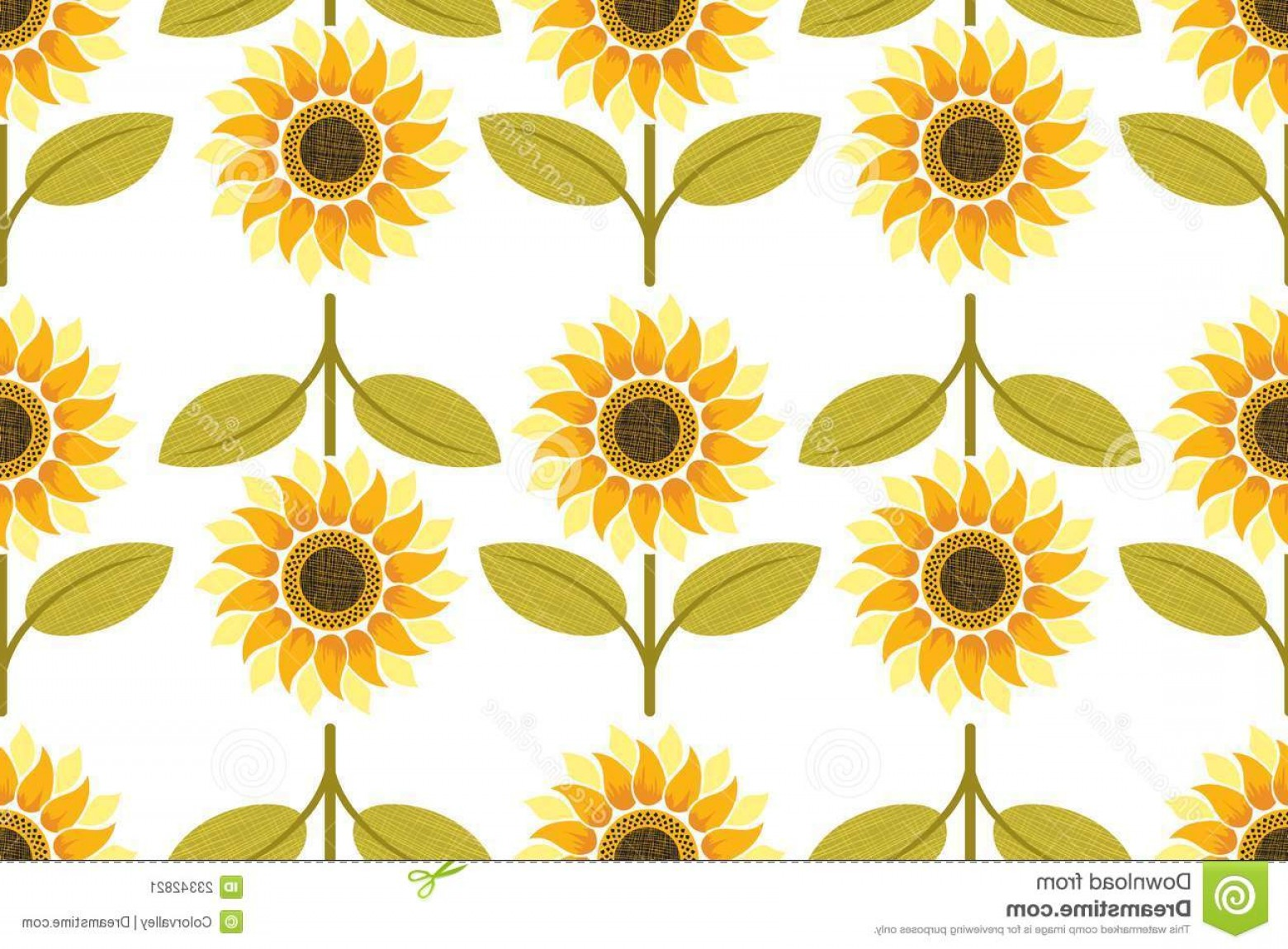 Sunflower Vector Pattern: Stock Image Yellow Sunflower Seamless Pattern Image