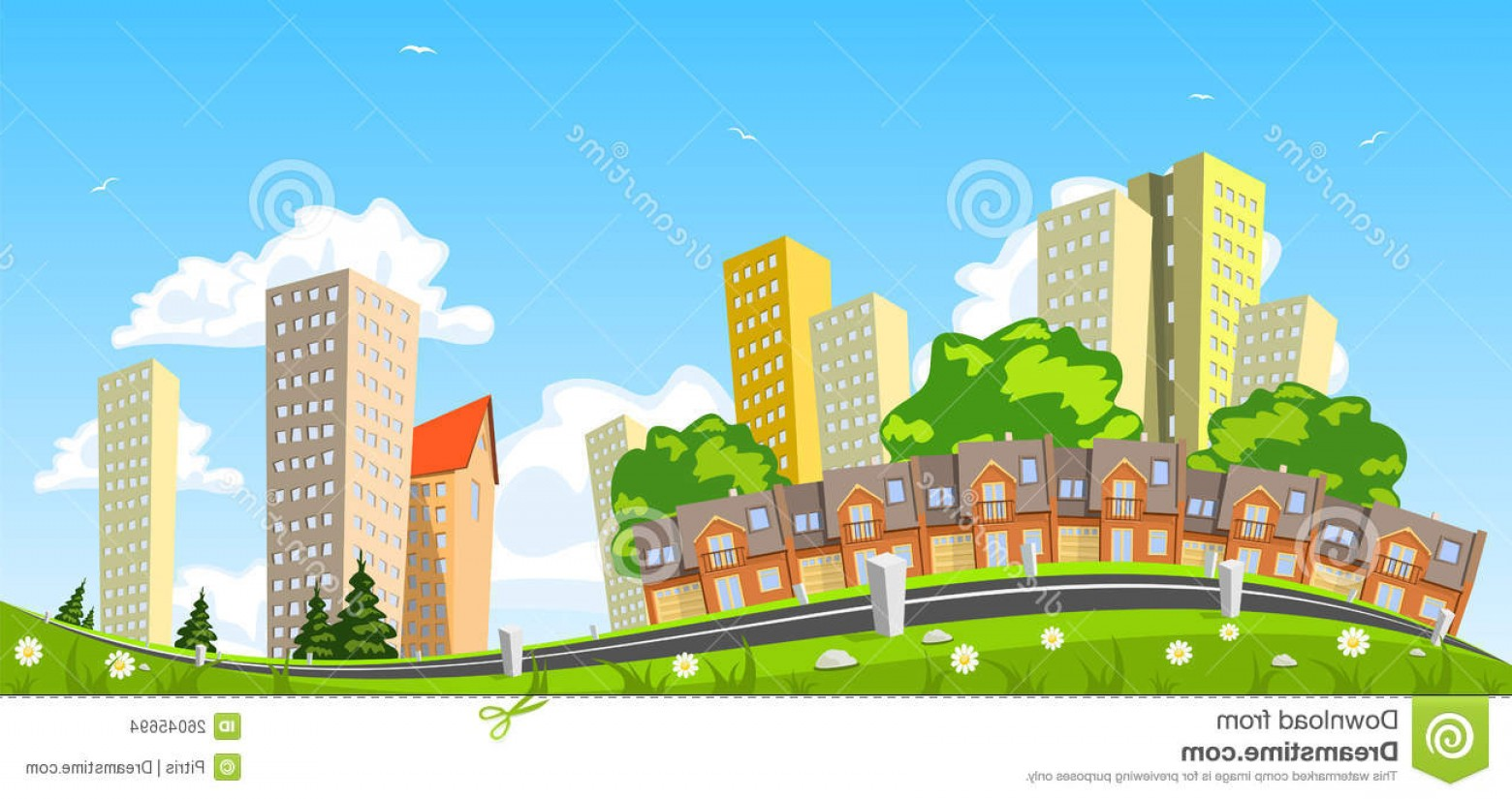 City Vector: Stock Images Abstract Vector City Row Building Image