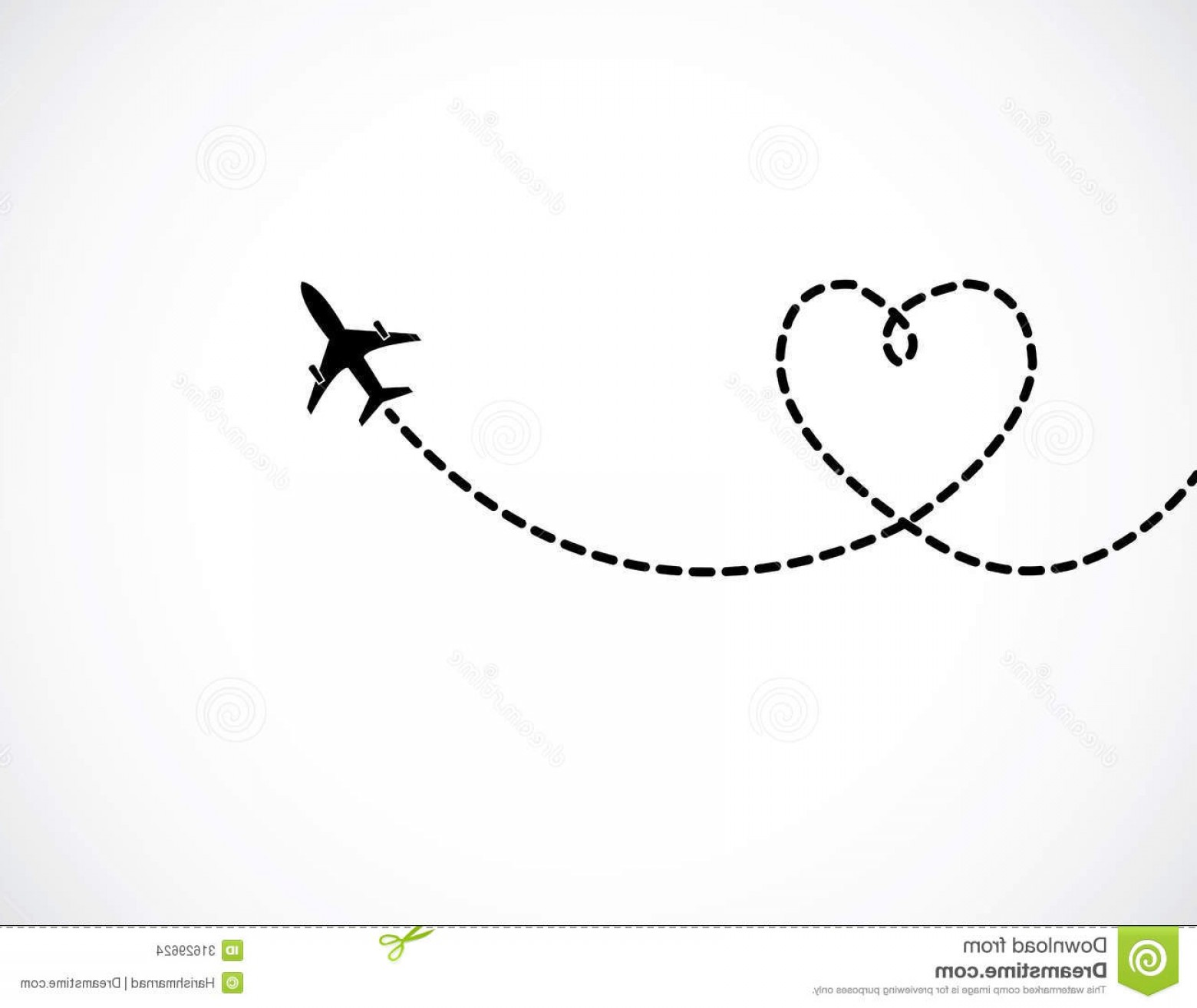 Black Heart And Plane Vector: Stock Images Airplane Flying White Sky Leaving Behind Love Shaped Smoke Trail Concept Illustration Image